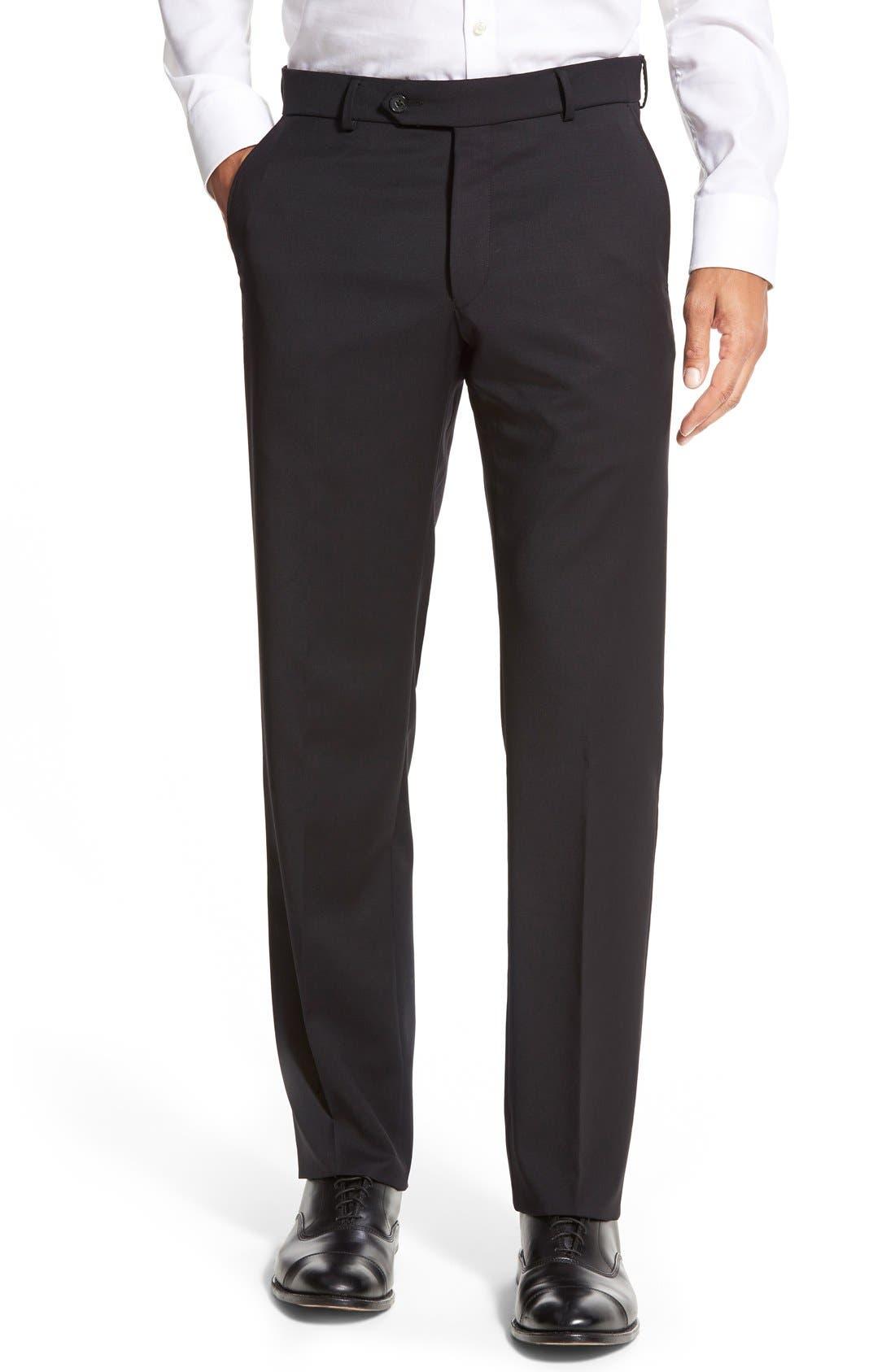 BALLIN Flat Front Solid Wool Trousers in Black