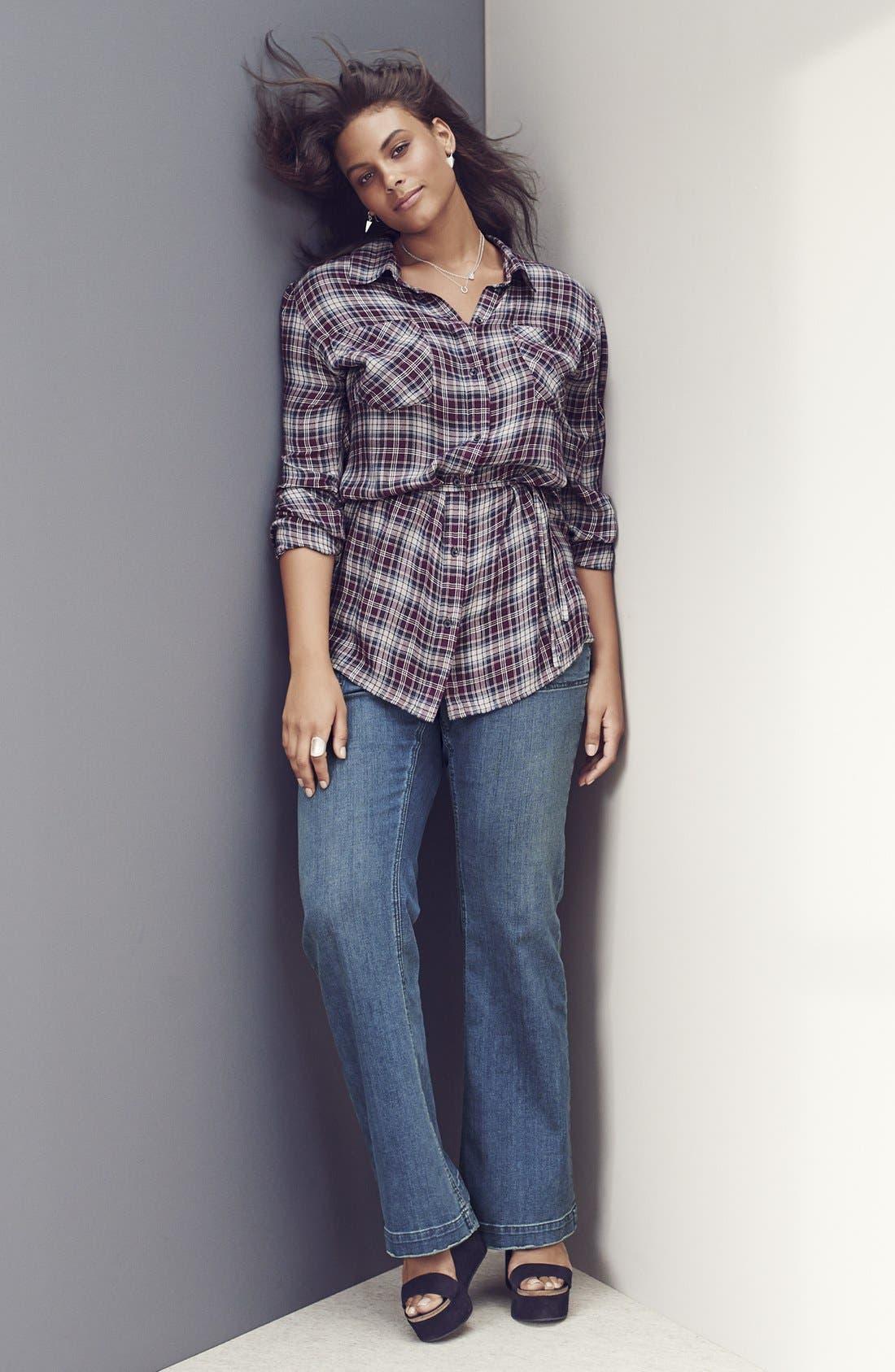 Alternate Image 4  - Melissa McCarthy Seven7 Stretch Flare Leg Jeans (Deluxe Blue) (Plus Size)