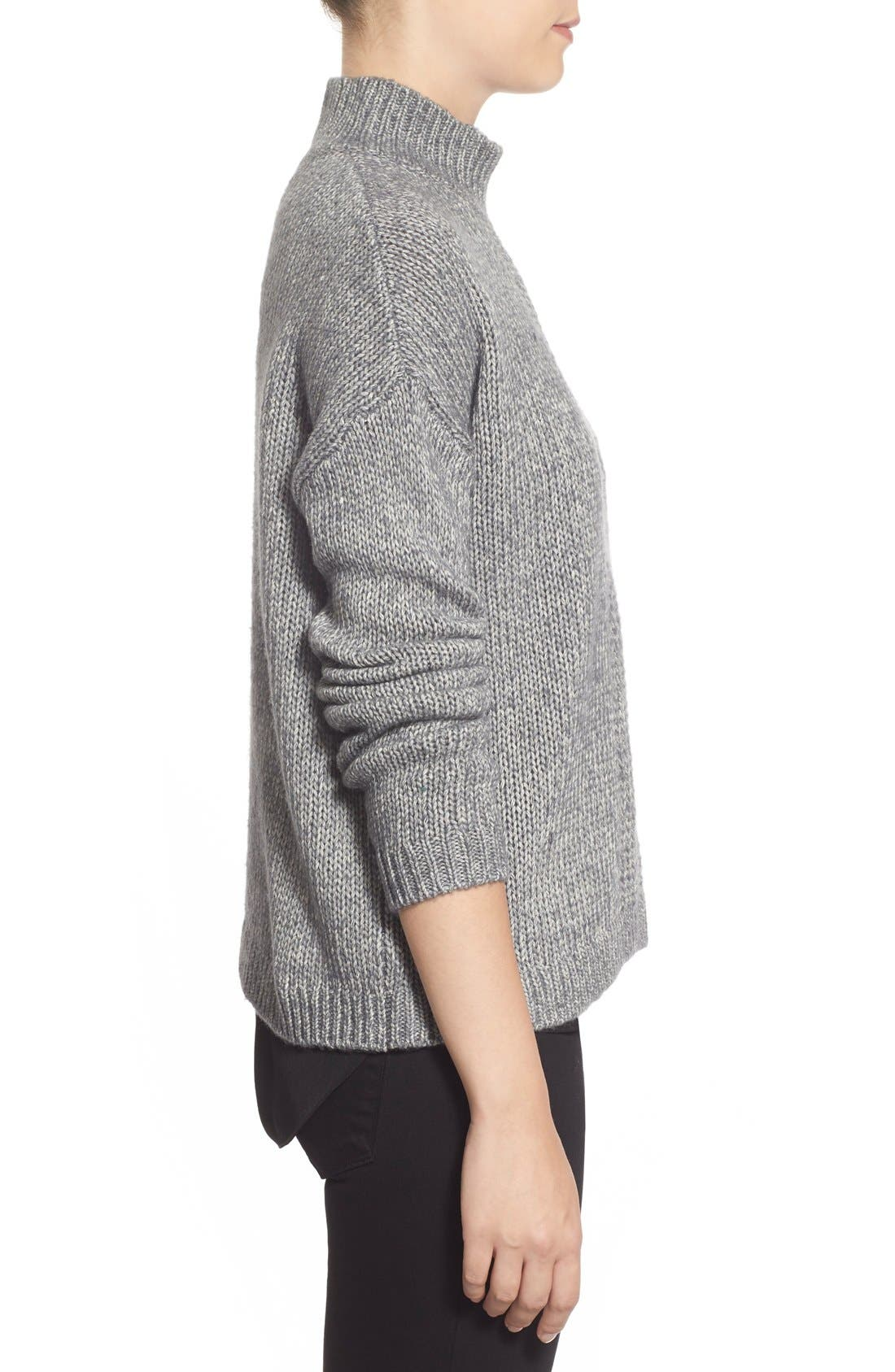 Pattern Front Mock Neck Sweater,                             Alternate thumbnail 3, color,                             Charcoal Marl