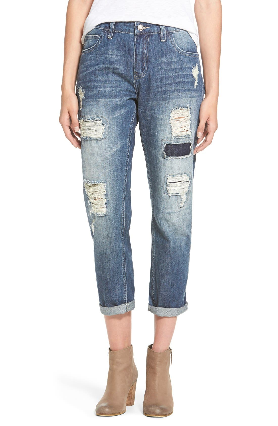 Alternate Image 1 Selected - OnTwelfth 'Stevie'Distressed BoyfriendJeans (Tahoe Dark Wash)