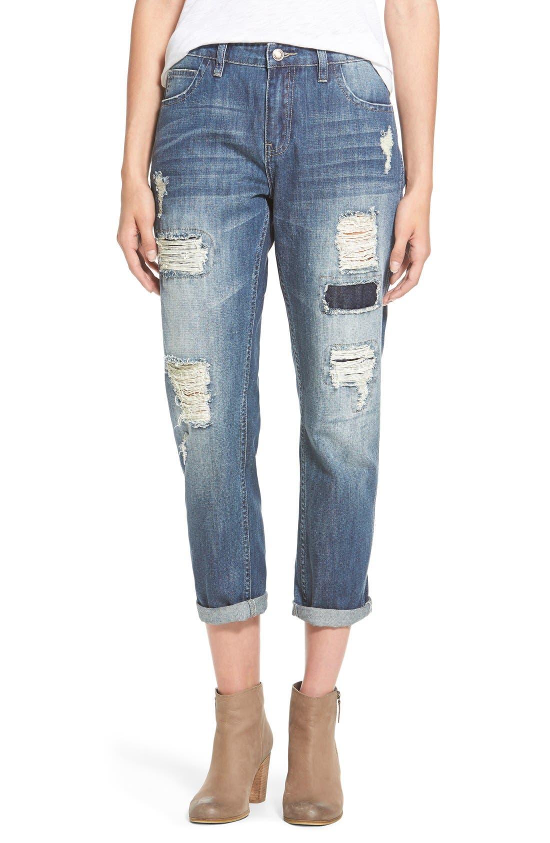 Main Image - OnTwelfth 'Stevie'Distressed BoyfriendJeans (Tahoe Dark Wash)