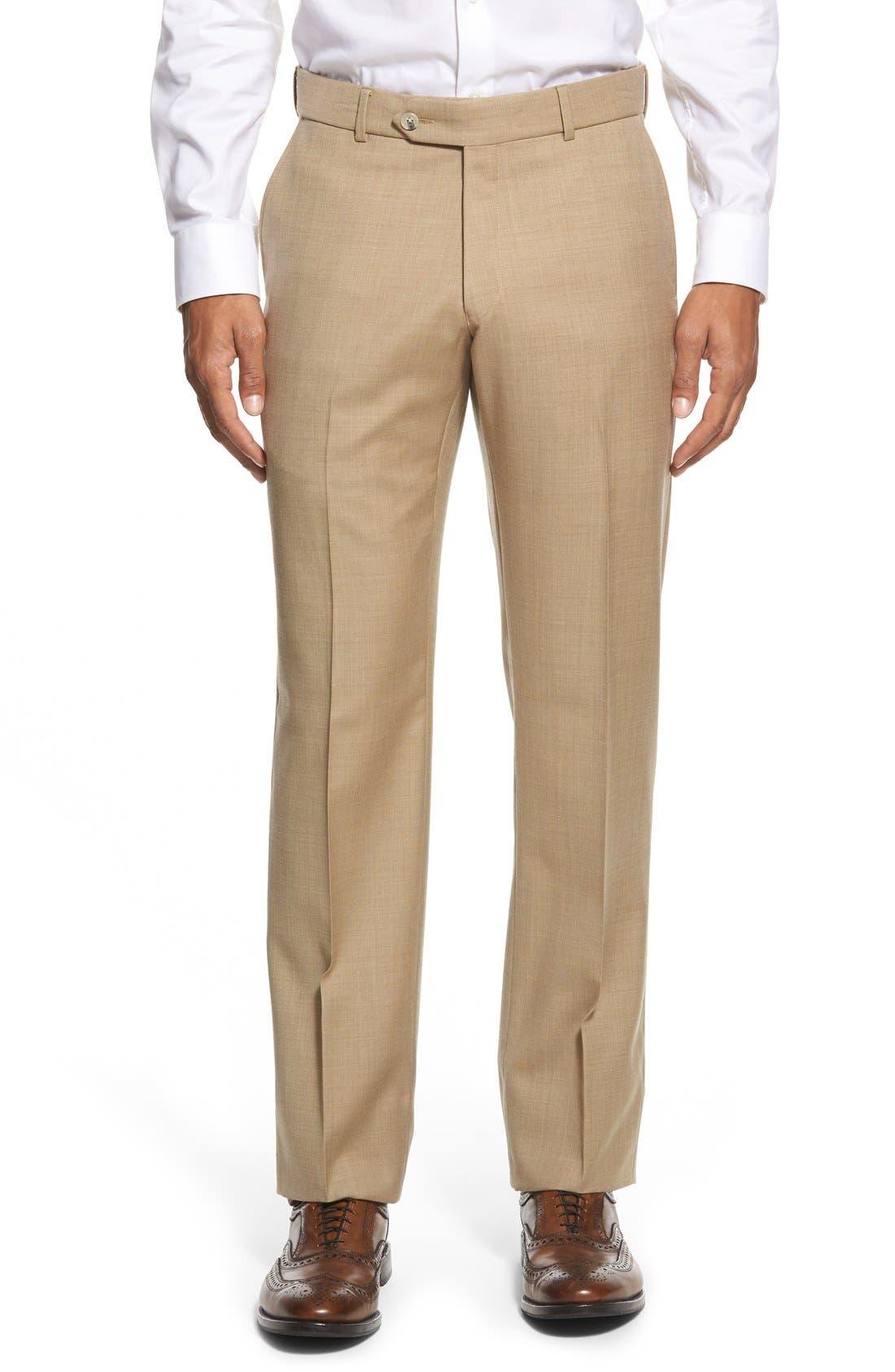 BALLIN Flat Front Sharkskin Wool Trousers in Camel