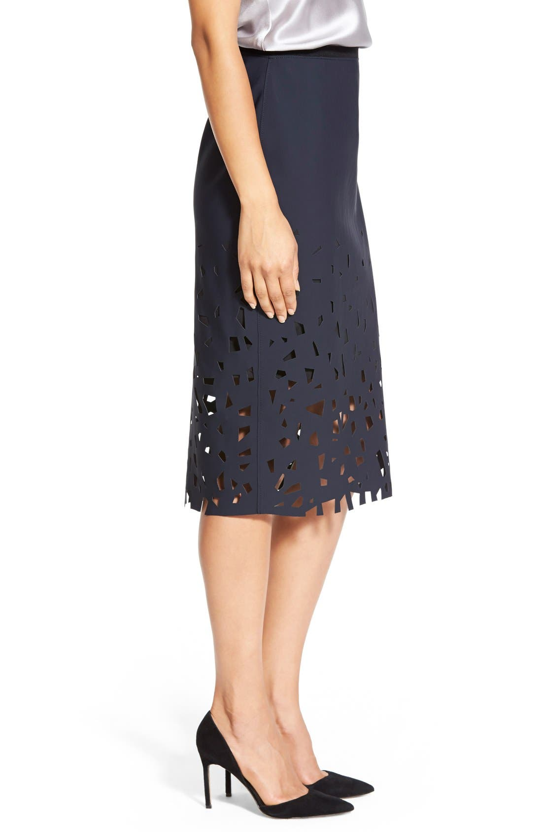 Alternate Image 3  - Elie Tahari 'Violet' Laser Cut Pencil Skirt