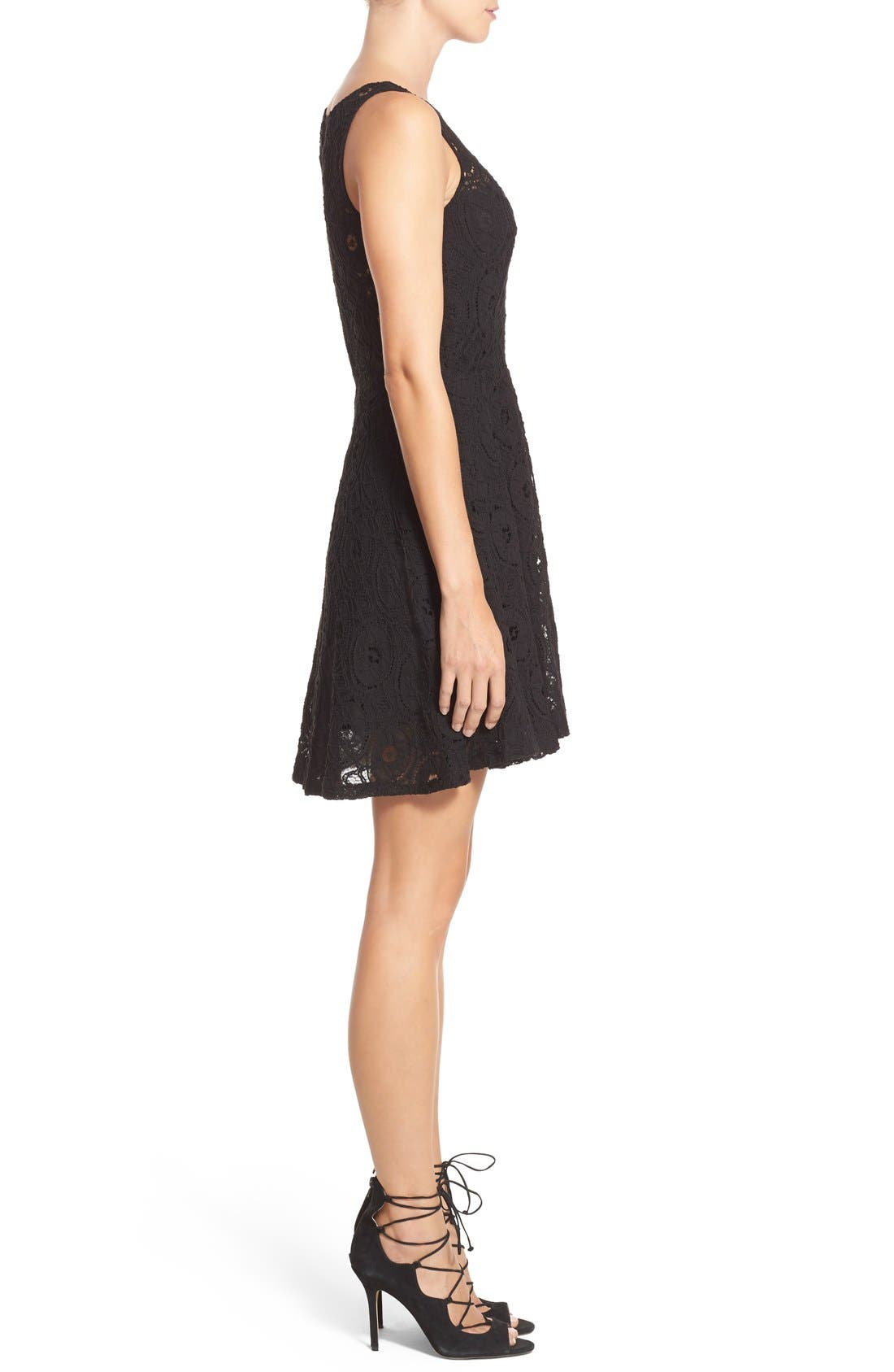 'Renley' Lace Fit & Flare Dress,                             Alternate thumbnail 3, color,                             Black