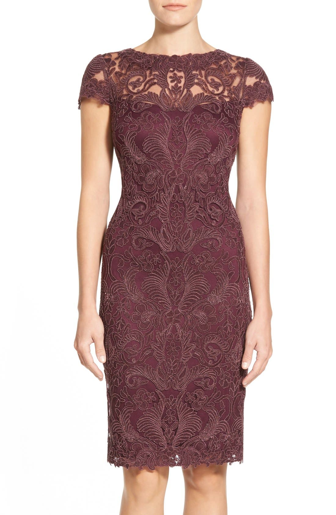 Illusion Yoke Lace Sheath Dress,                             Main thumbnail 1, color,                             Blackberry