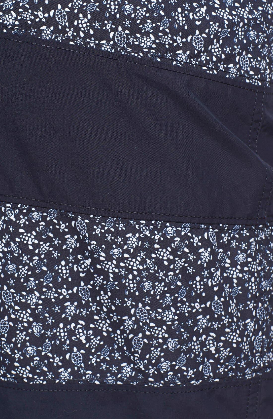 'Octant' Turtle Print Stripe Swim Trunks,                             Alternate thumbnail 5, color,                             Navy