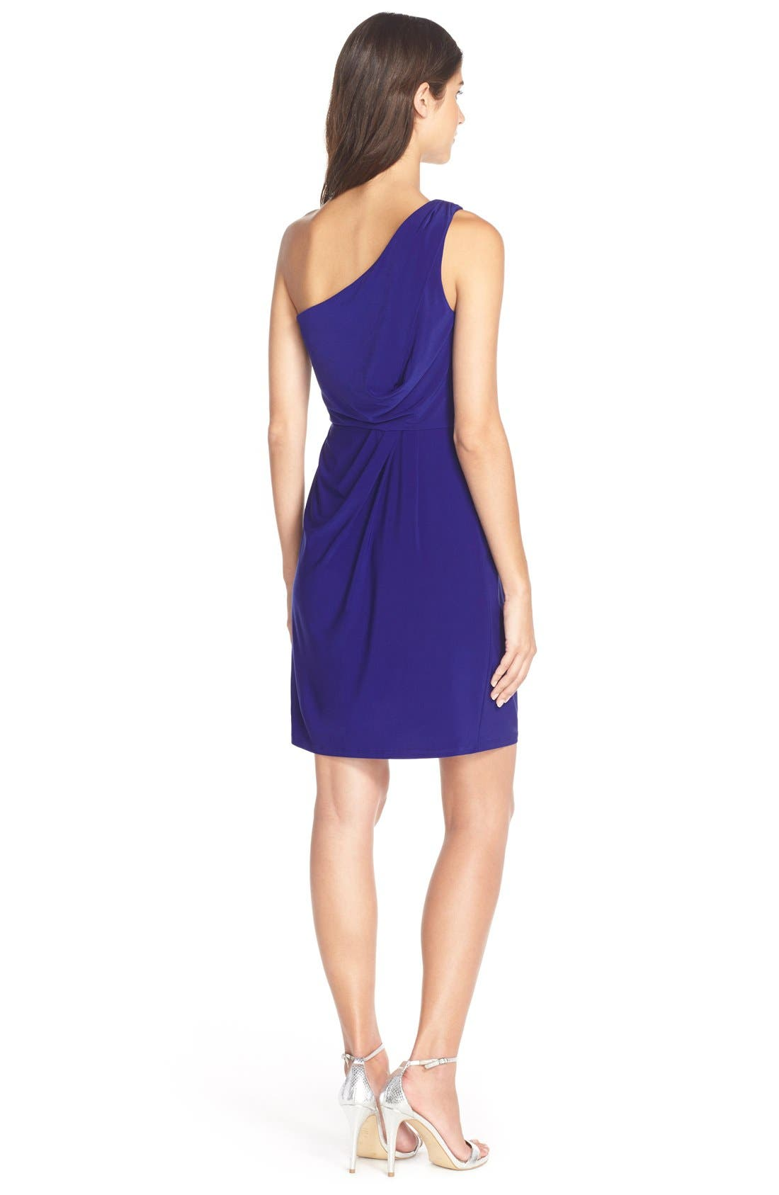 Alternate Image 2  - Adrianna Papell One-Shoulder Jersey Blouson Dress
