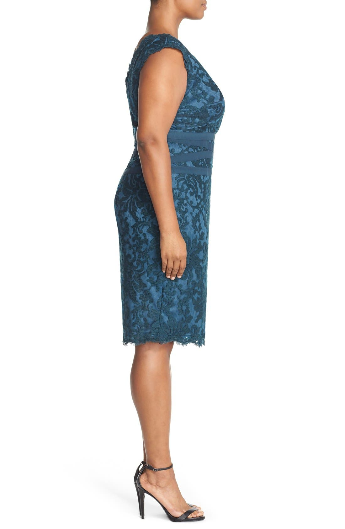 Alternate Image 3  - Tadashi Shoji Embroidered Lace Sheath Dress (Plus Size)