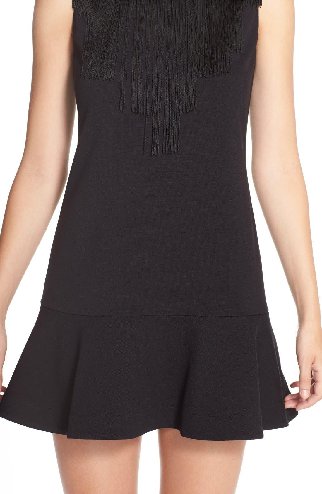Alternate Image 6  - BCBGMAXAZRIAFringe Neck PonteDrop Waist Dress