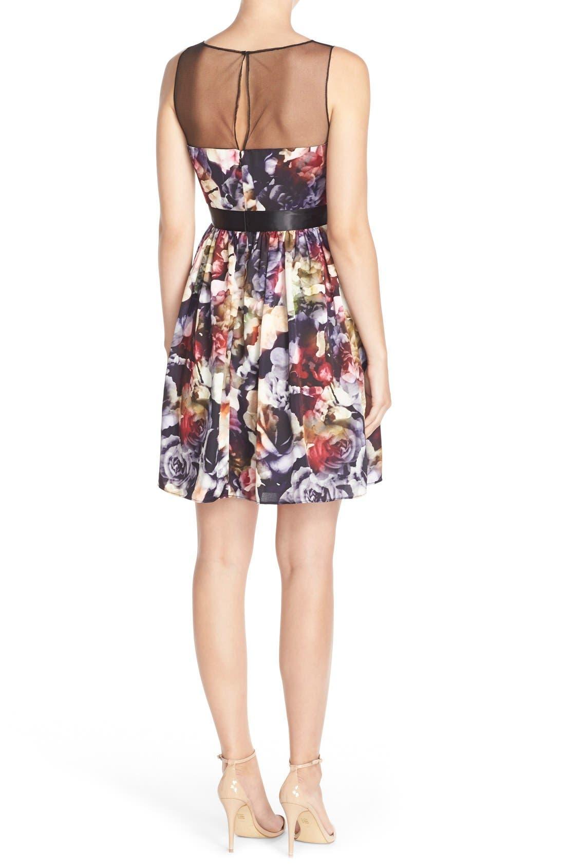 Alternate Image 2  - Adrianna PapellFloral CharmeuseFit & Flare Dress