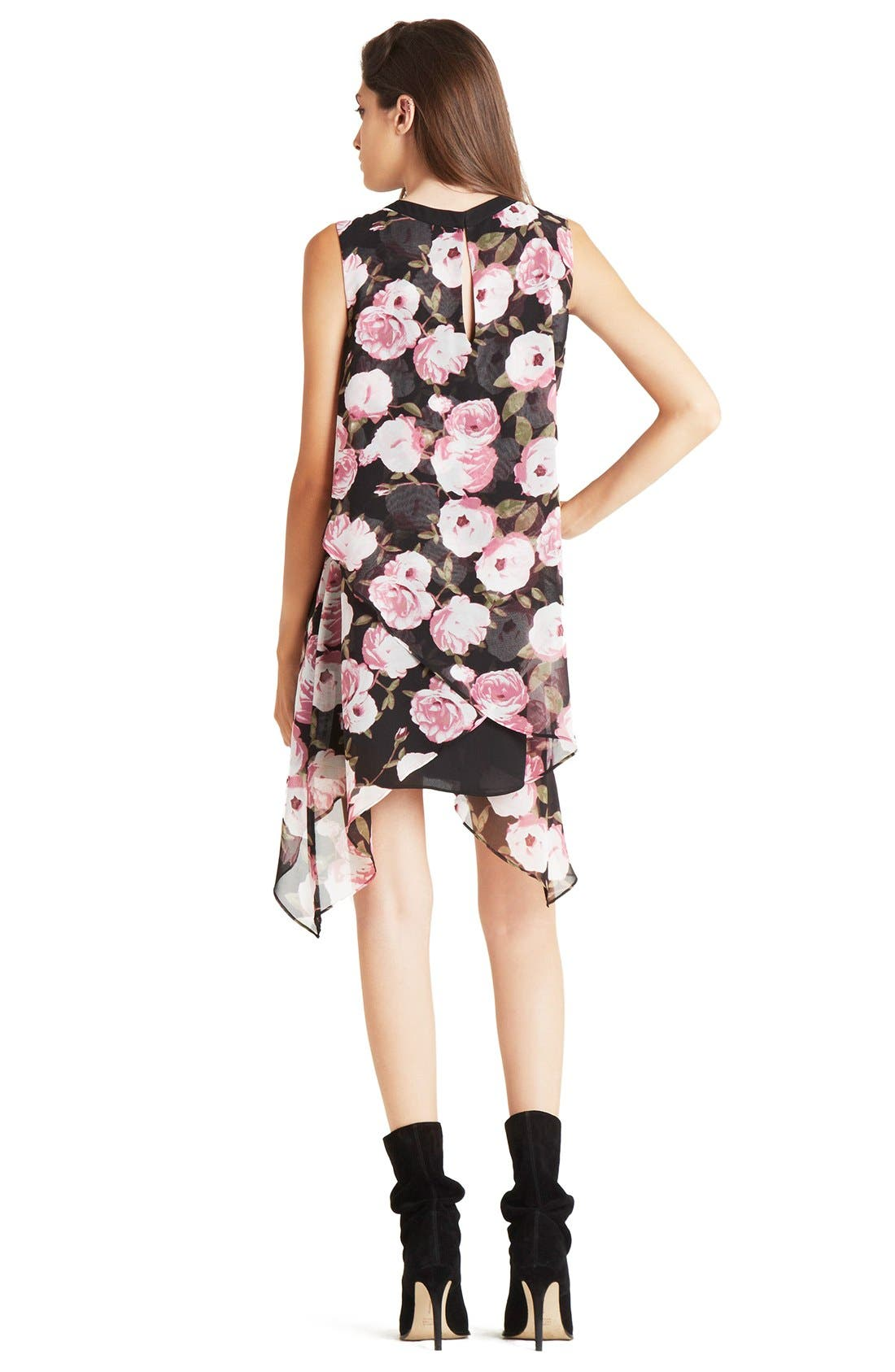 Alternate Image 2  - BCBGeneration Asymmetrical Tiered Floral Crepe Shift Dress