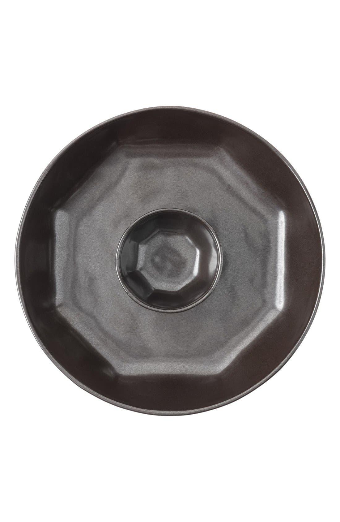 Pewter StonewareChips & Dip Serving Bowl,                         Main,                         color, Pewter