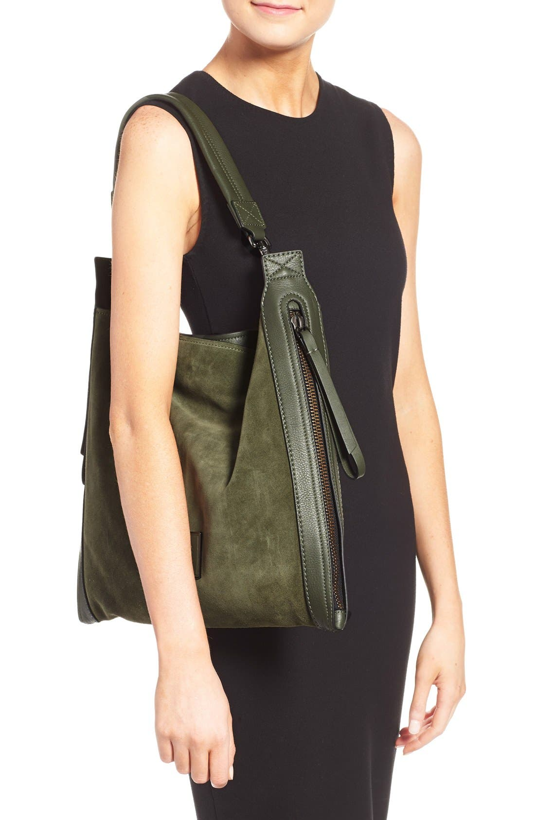 Alternate Image 2  - MARC BY MARC JACOBS 'Zip That' Suede & Leather Hobo