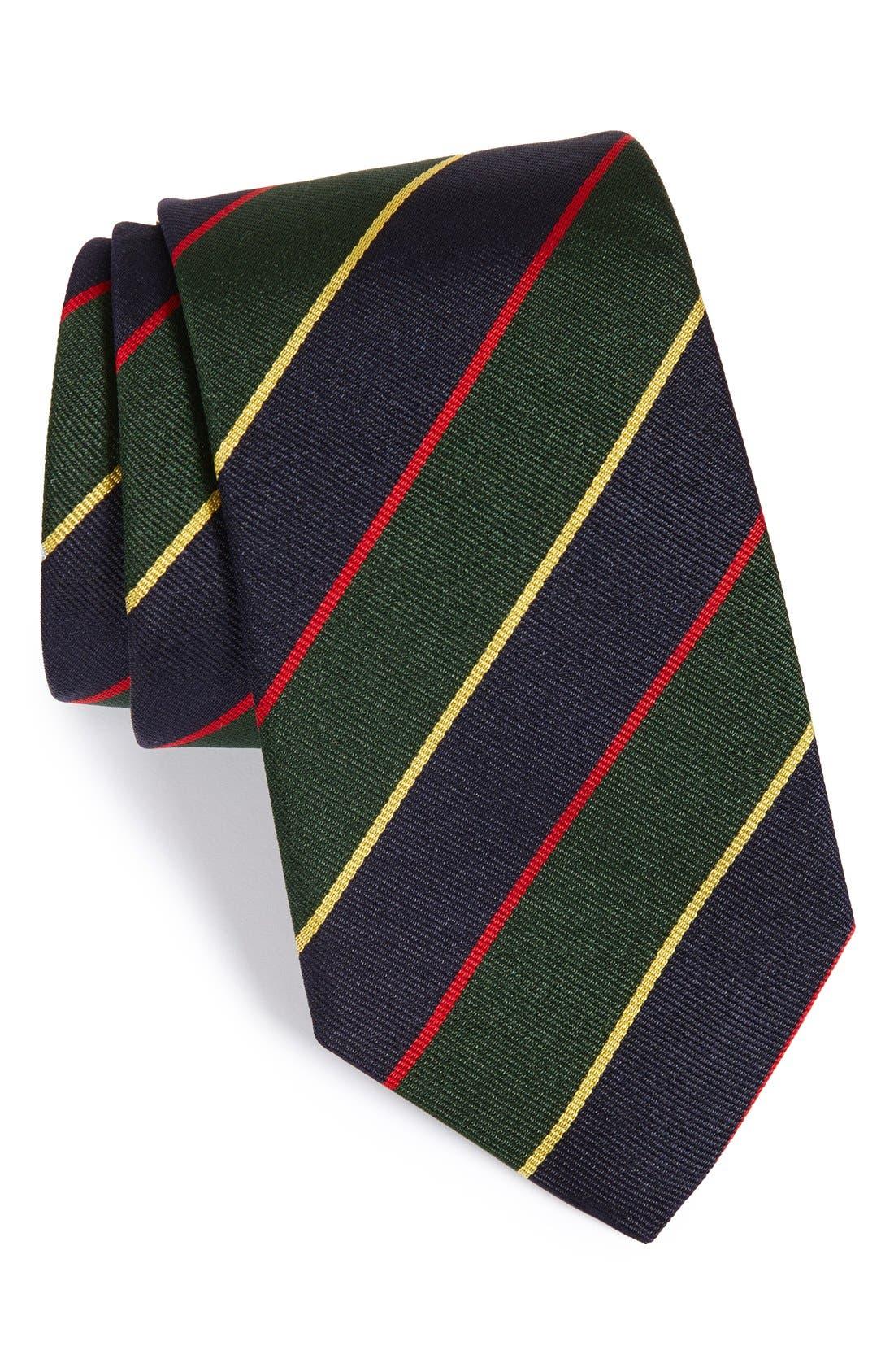 StripeSilk Tie,                             Main thumbnail 1, color,                             Navy