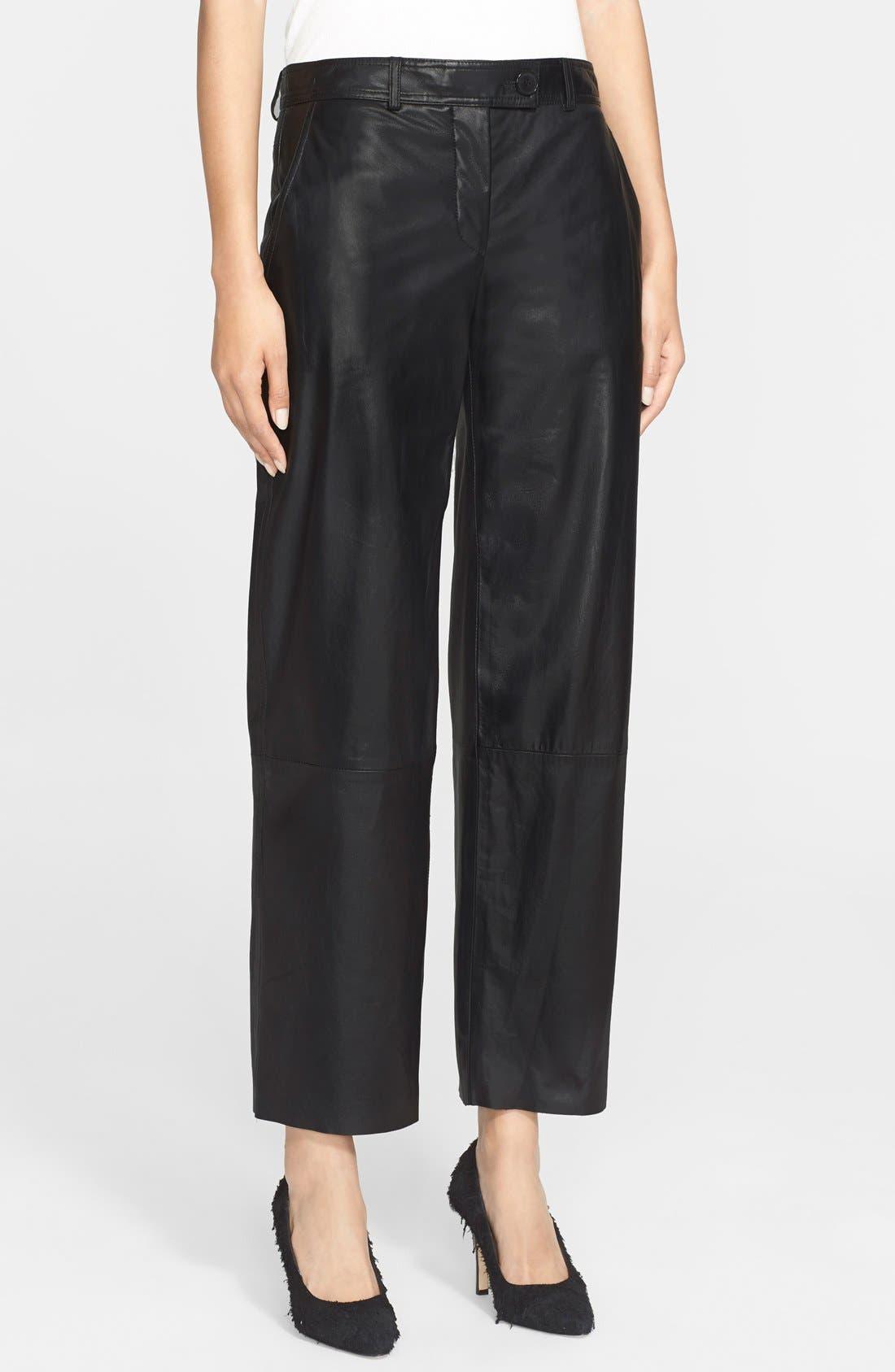 Main Image - Helmut Lang Crop Leather Pants