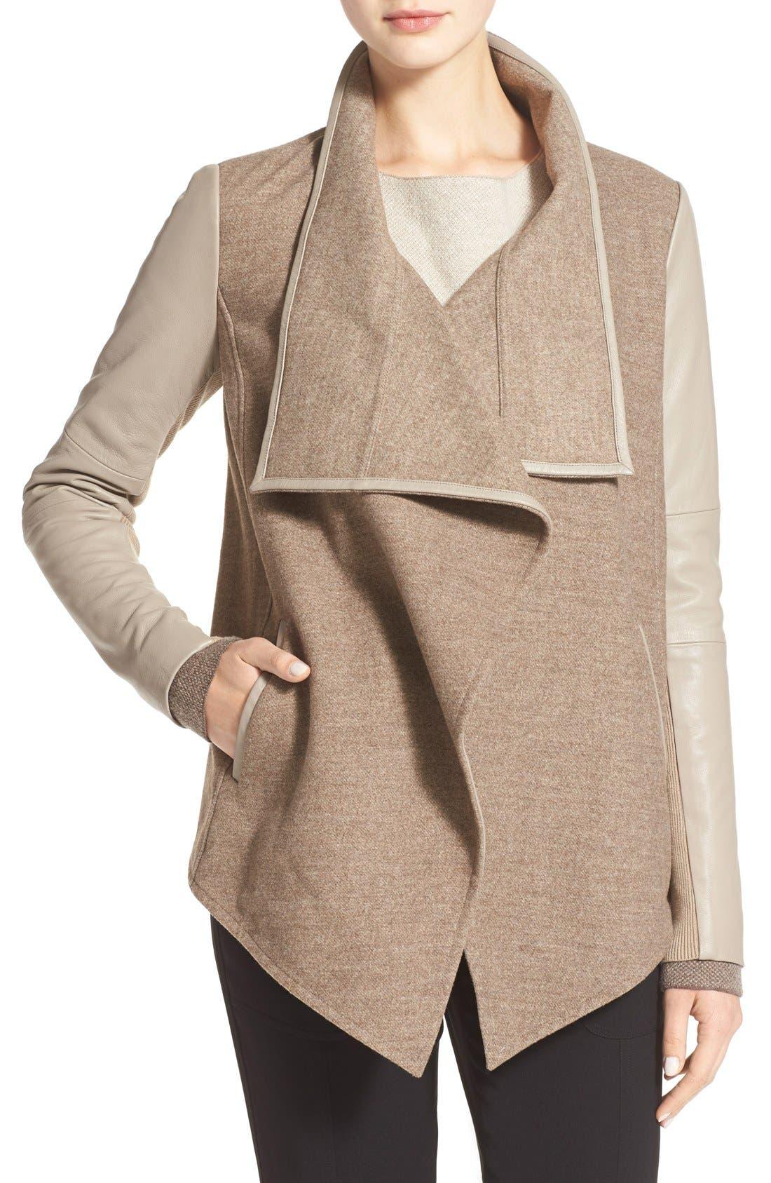 Alternate Image 1 Selected - Vince Leather Trim Drape Neck Jacket