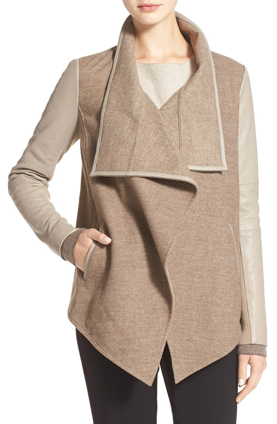 Main Image - Vince Leather Trim Drape Neck Jacket
