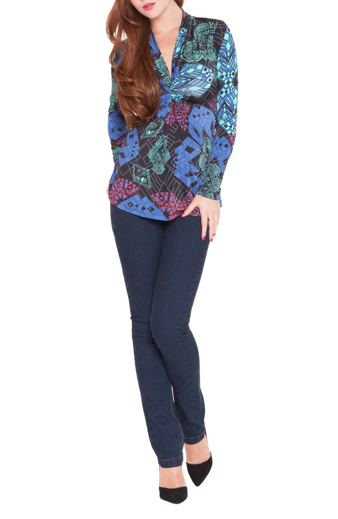 'Samantha' V-Neck Maternity Top,                         Main,                         color, Blue