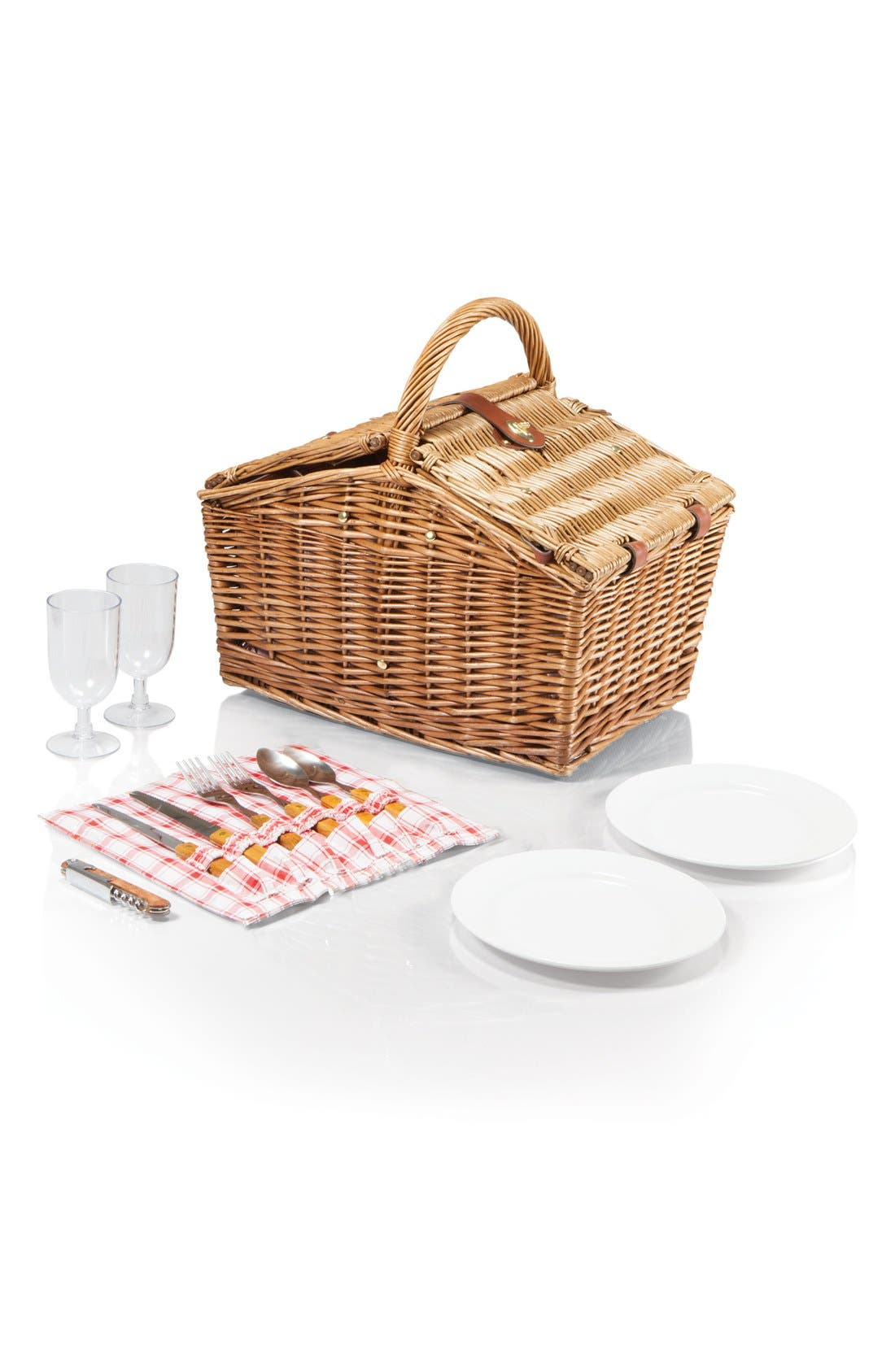 'Piccadilly' Wicker Picnic Basket,                             Alternate thumbnail 2, color,                             Red