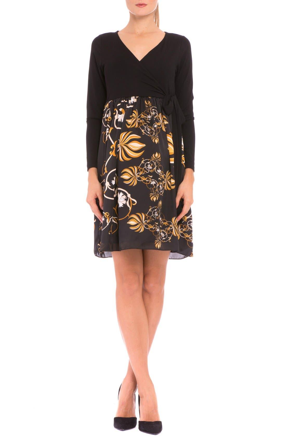'Giorgina' Maternity Wrap Dress,                         Main,                         color, Black