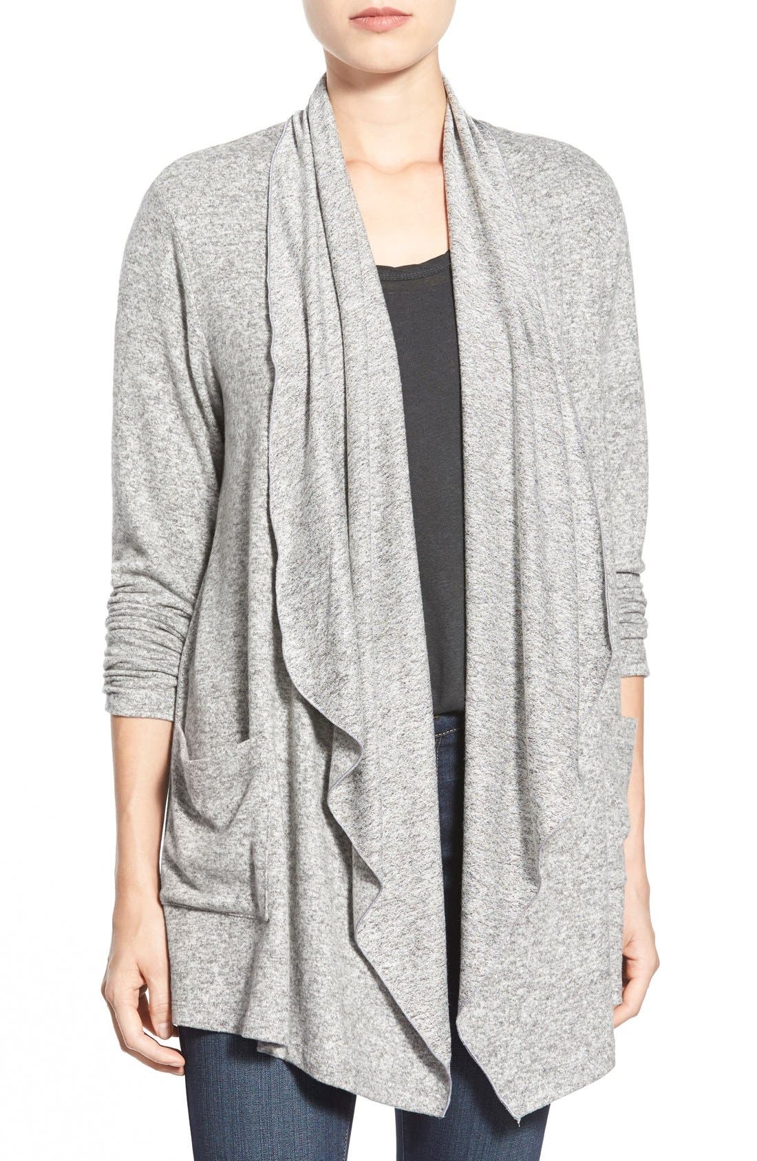Alternate Image 1 Selected - Bobeau Two-Pocket Drape Front Cardigan (Regular & Petite)