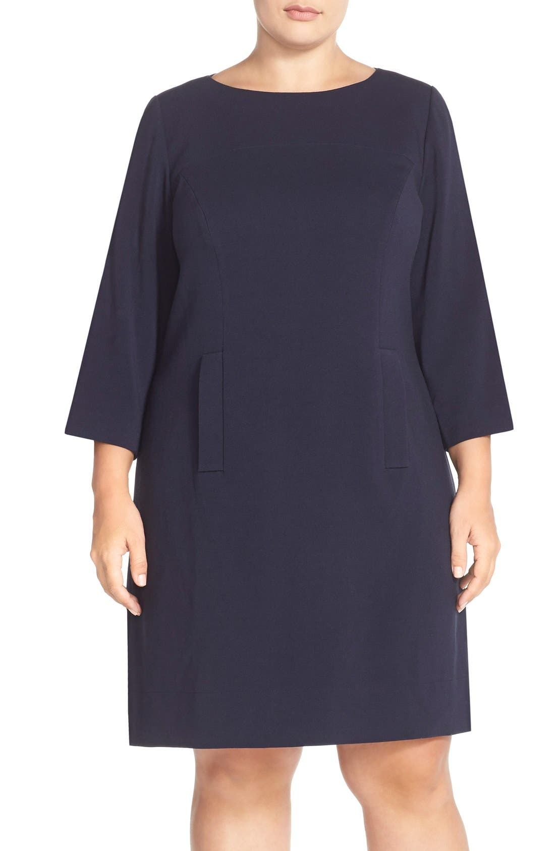 Alternate Image 1 Selected - Eliza J Pocket Detail Shift Dress (Plus Size)