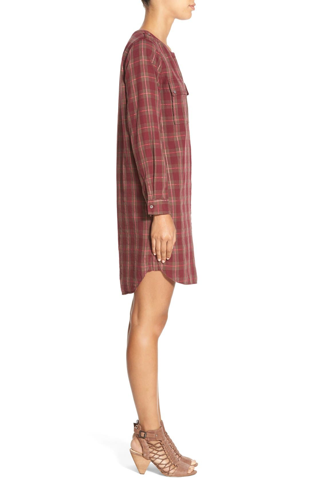 Alternate Image 3  - Two by Vince Camuto Plaid Collarless Shirtdress