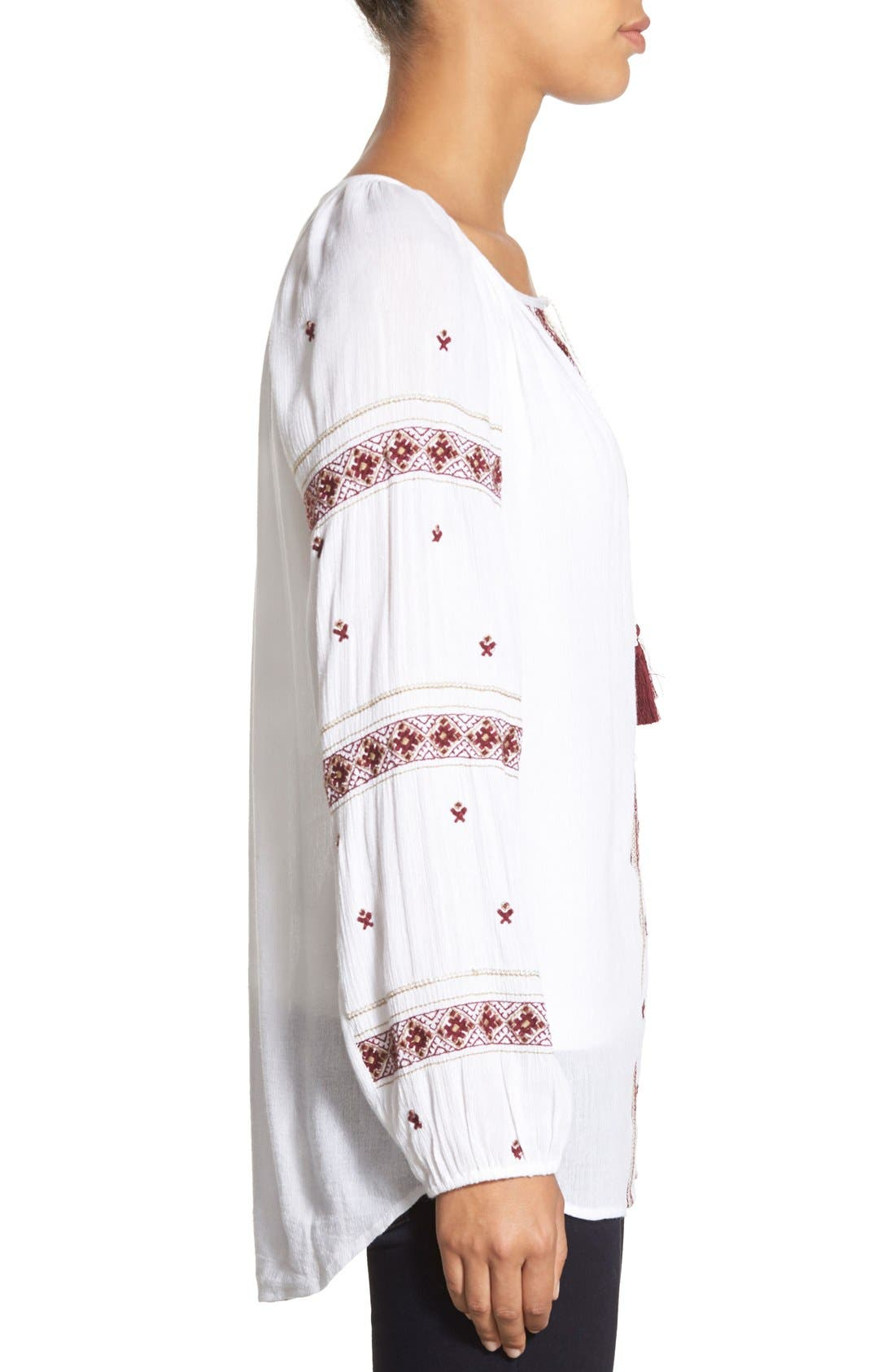 Alternate Image 3  - Caslon® Embroidered Peasant Tunic Top