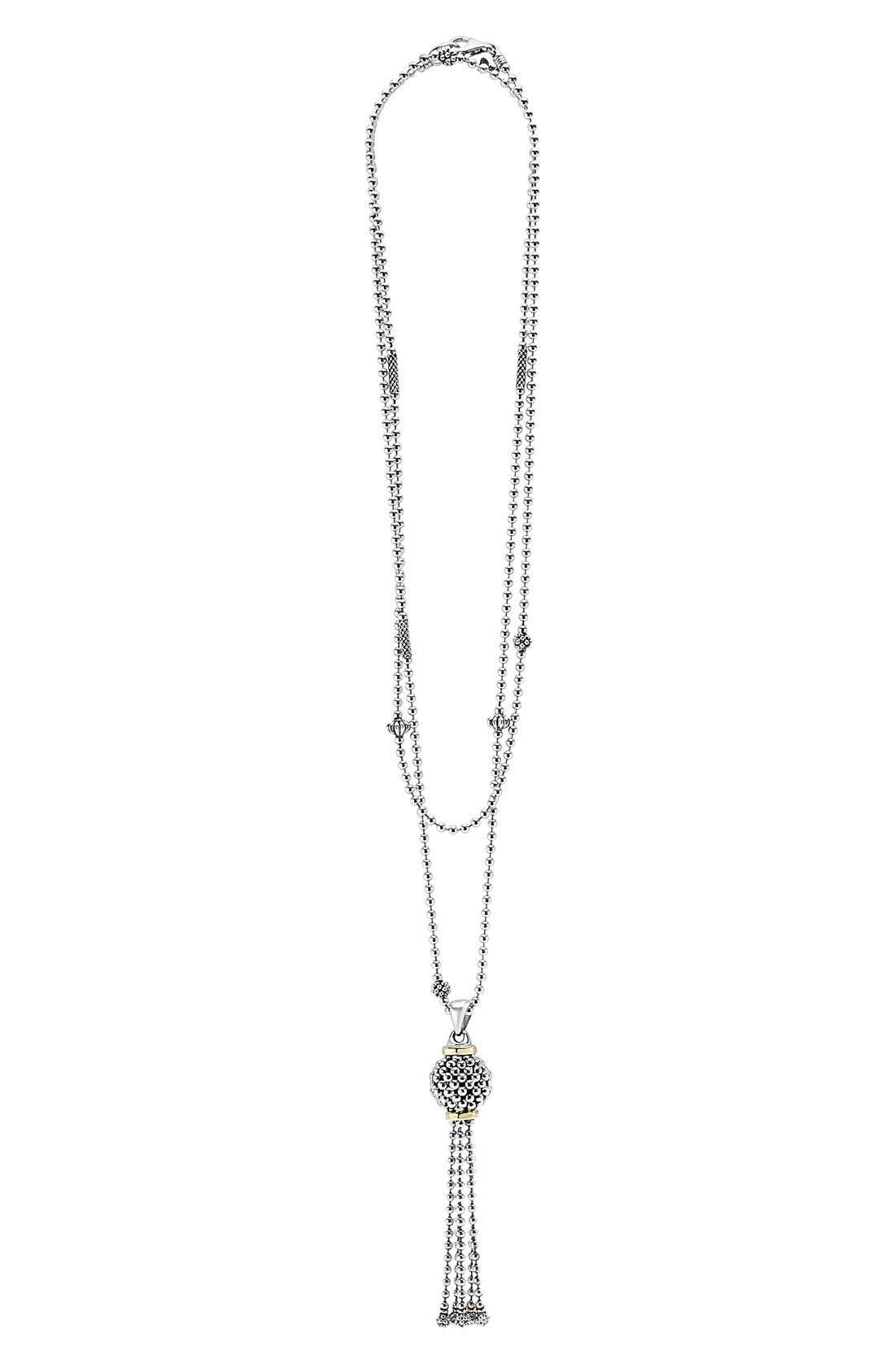 'Caviar Forever' Tassel Pendant Necklace,                         Main,                         color, Silver/ Gold