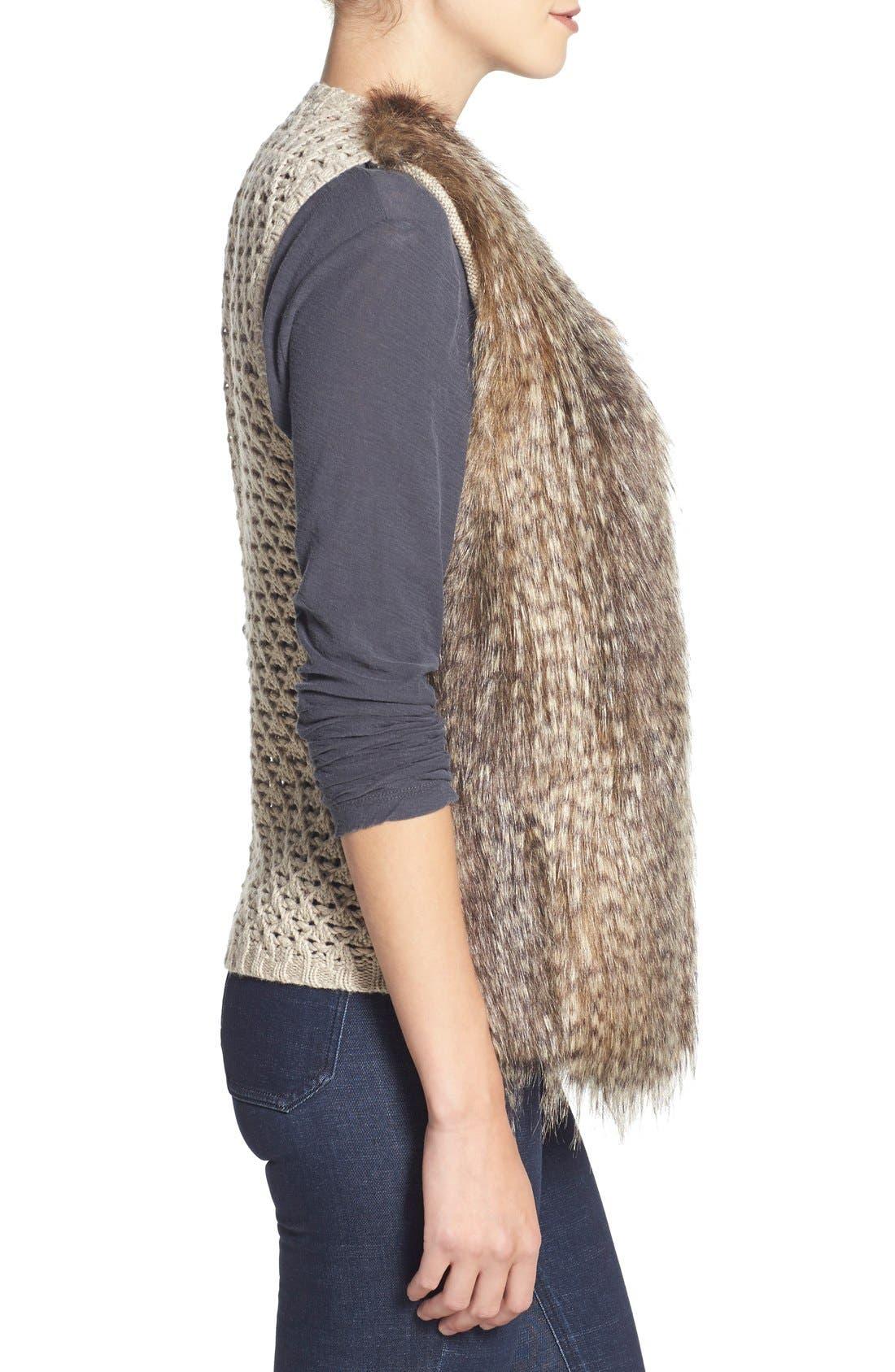 Alternate Image 3  - Ella Moss 'Lyla' Faux Fur Knit Back Vest