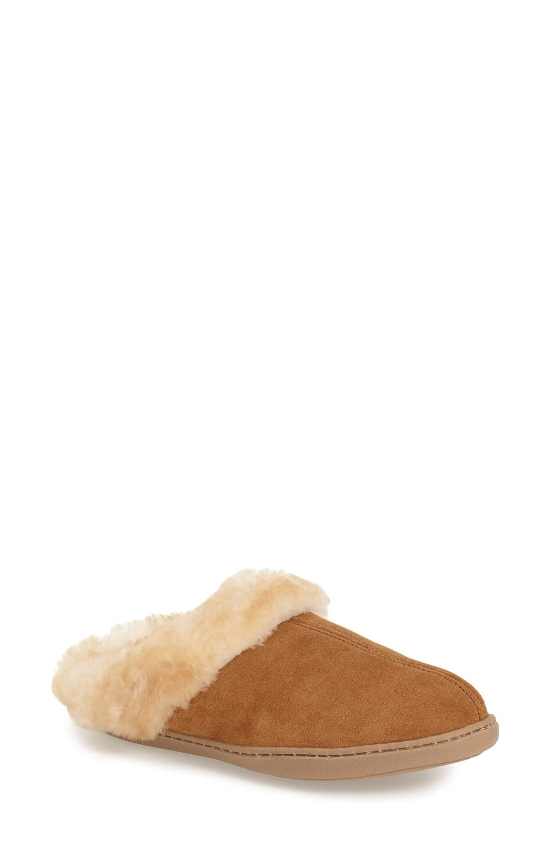 Sheepskin Mule Slipper,                             Main thumbnail 1, color,                             Tan Suede