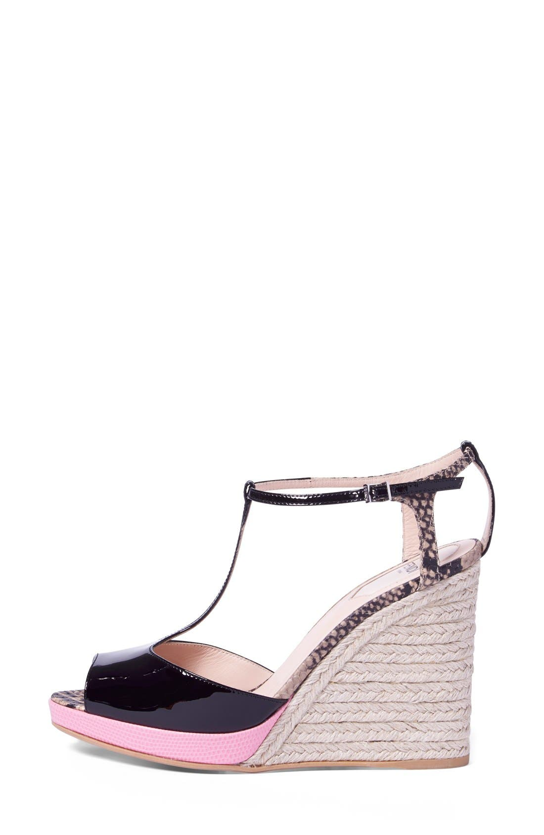 'Elodie' T-Strap Wedge Sandal,                             Alternate thumbnail 2, color,                             Black/ Pink Patent