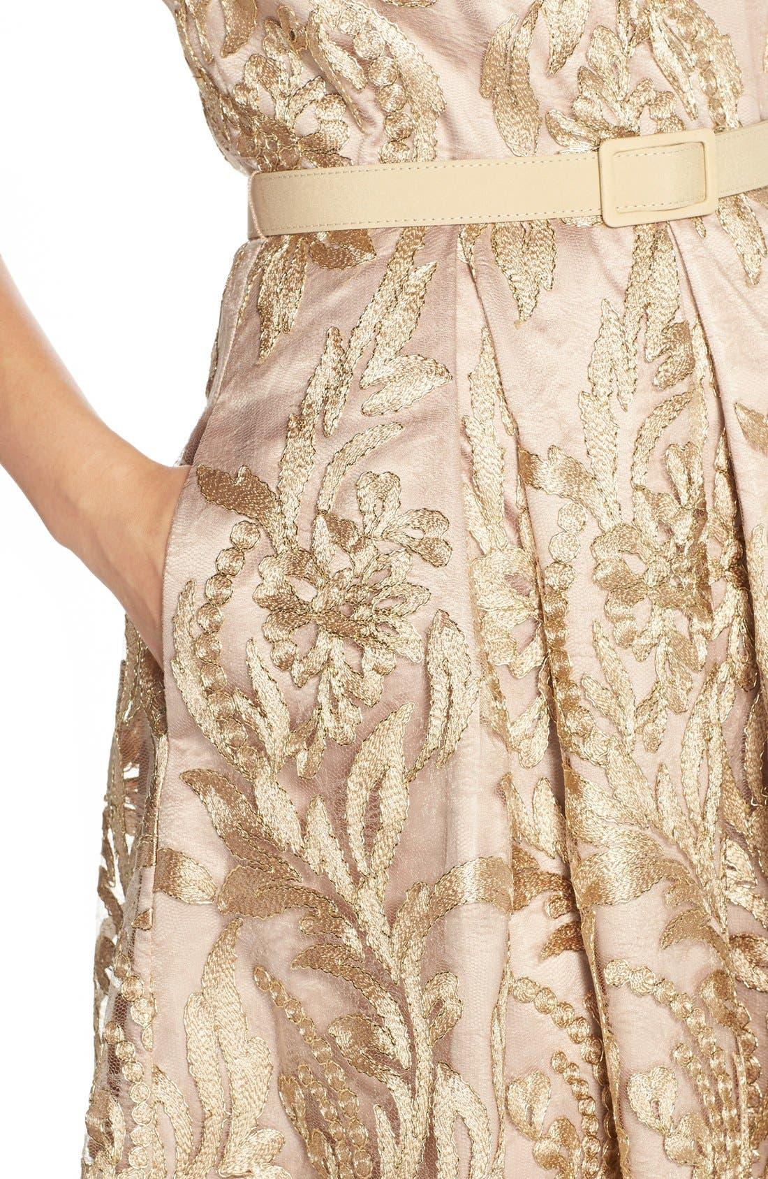 Alternate Image 4  - Eliza J Belted Embroidered Charmeuse Fit & Flare Dress