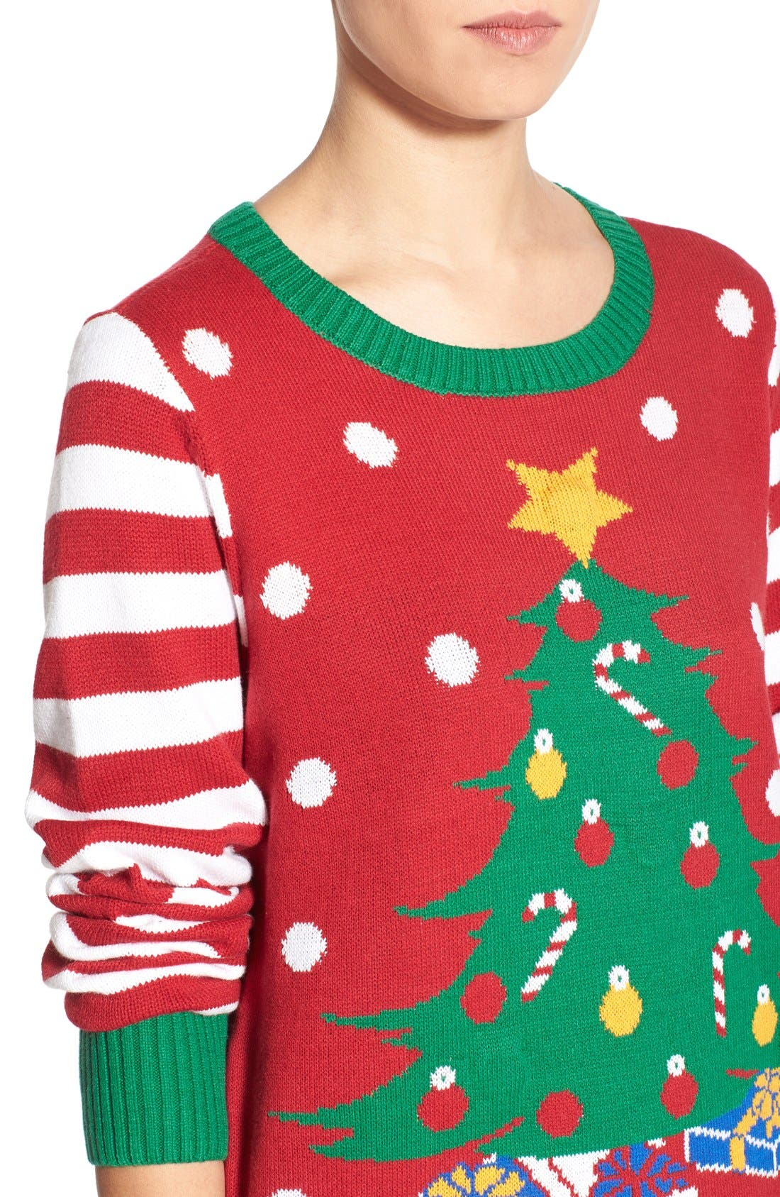 Alternate Image 4  - Ugly Christmas Sweater Light-Up Christmas Tree Sweater