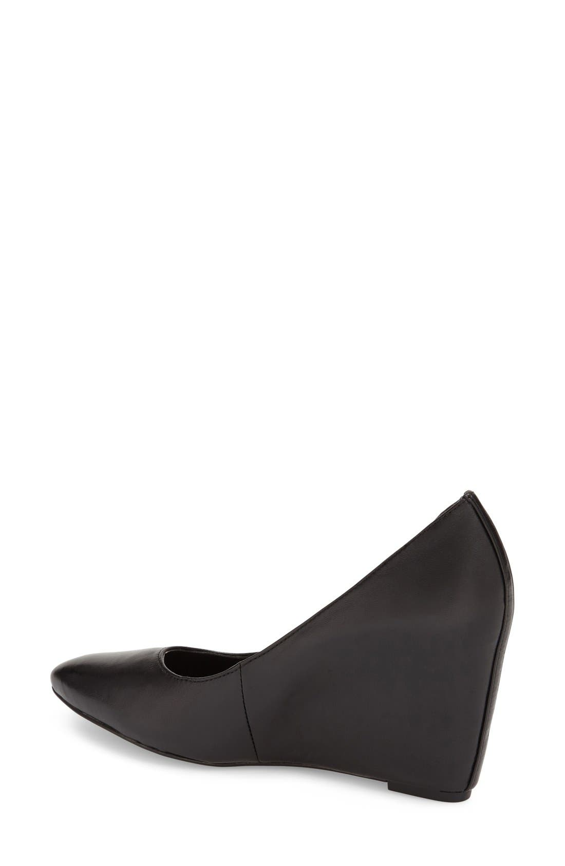 'Woodstock' Wedge Pump,                             Alternate thumbnail 2, color,                             Black Leather