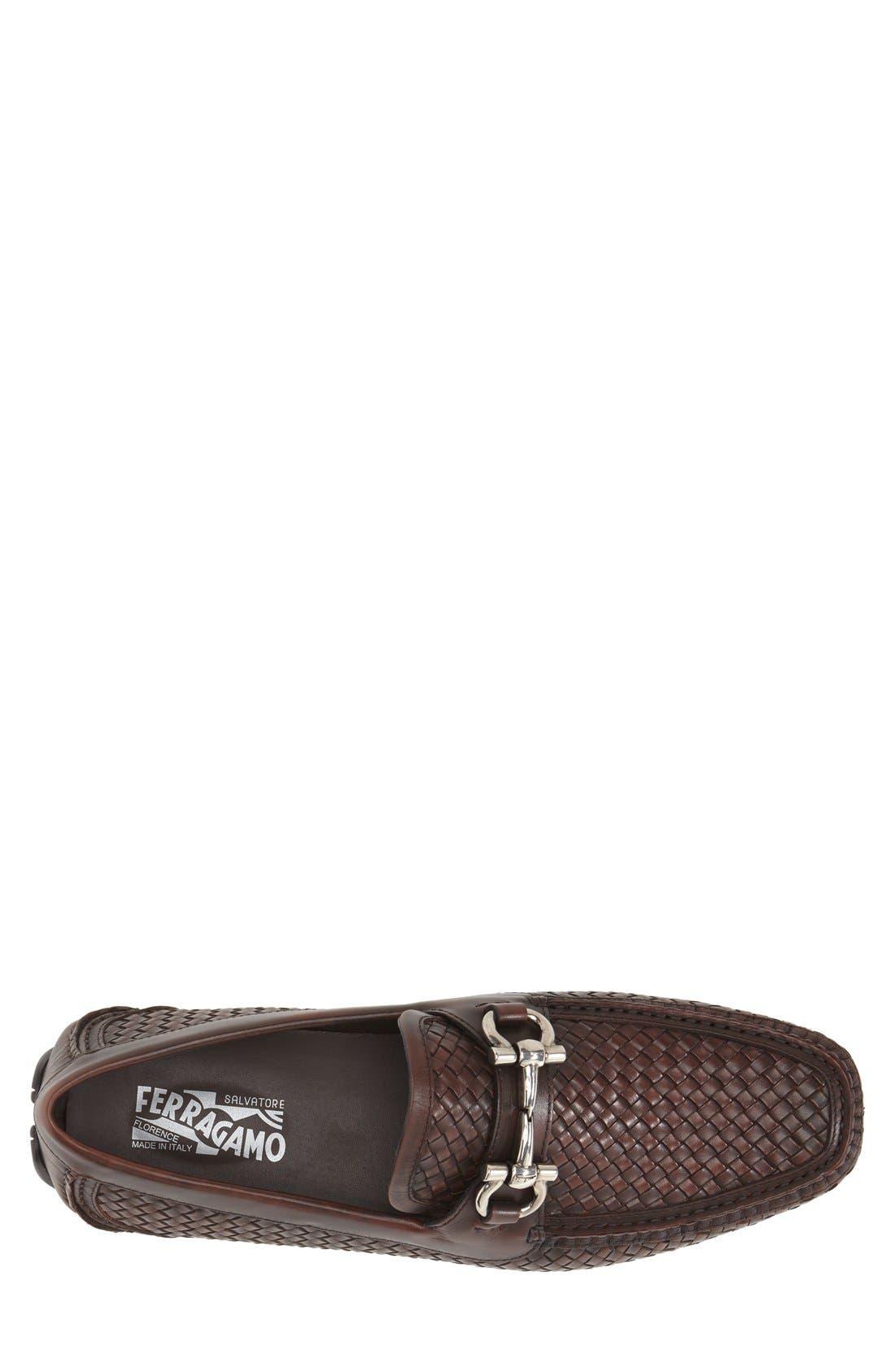 'Parigi' Woven Bit Loafer,                             Alternate thumbnail 3, color,                             Brown Hen/ T Moro Leather