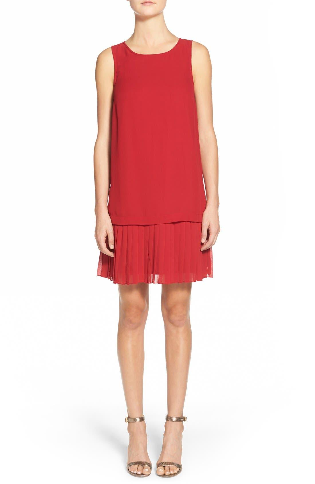 Main Image - kensie Pleat Hem Drop Waist Shift Dress
