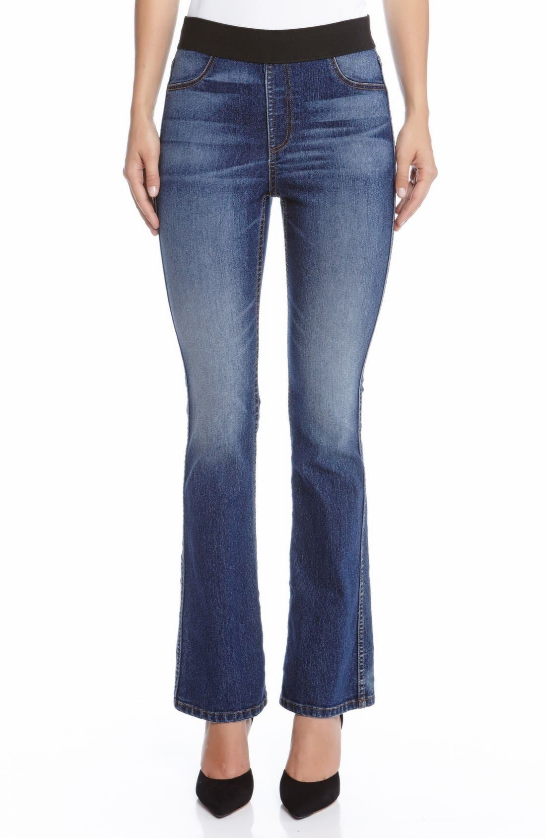 Alternate Image 1 Selected - Karen Kane Pull-On Stretch Bootcut Jeans (Blue)