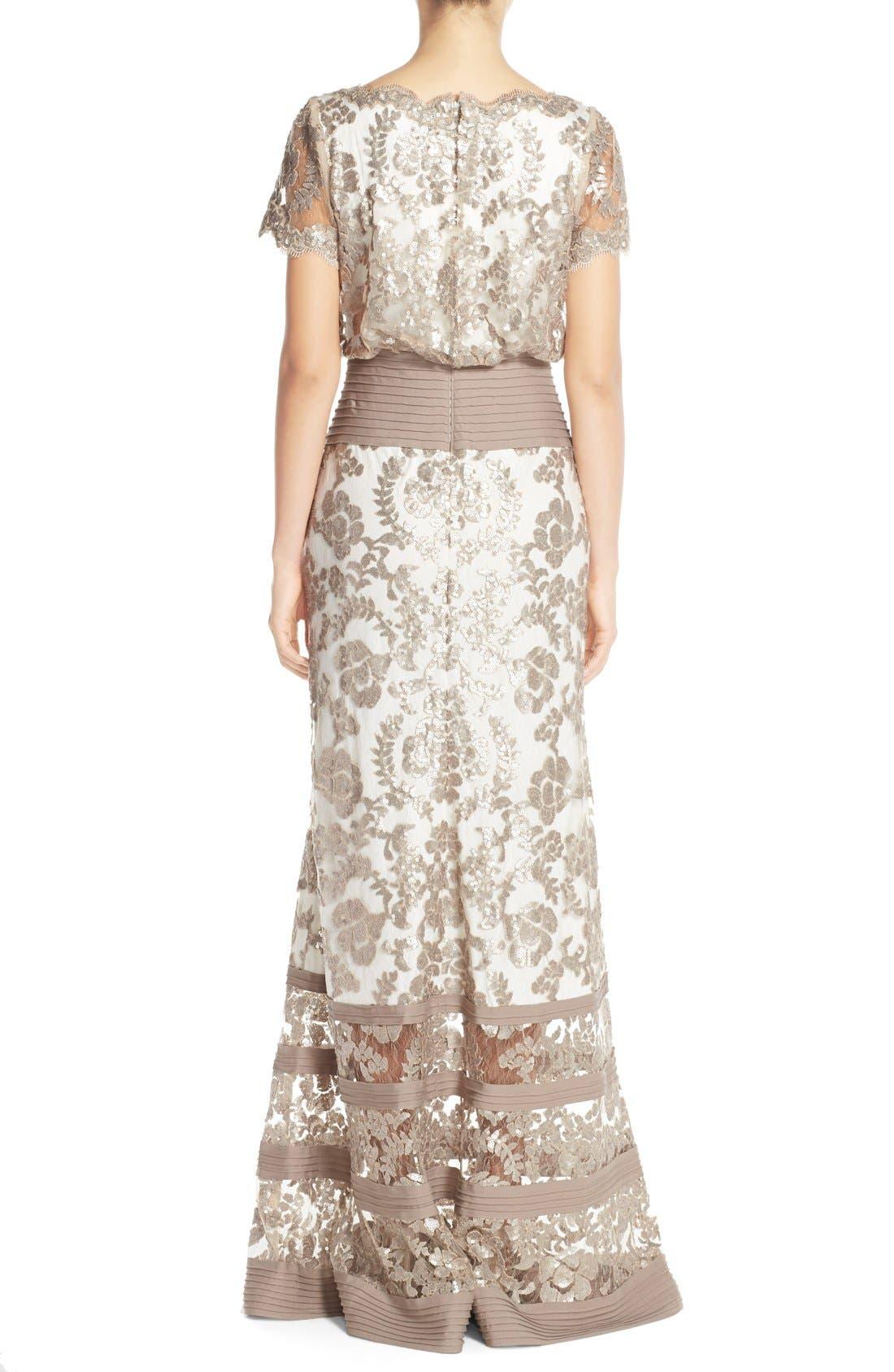 Alternate Image 2  - Tadashi Shoji Sequin Lace Blouson Gown (Regular & Petite)
