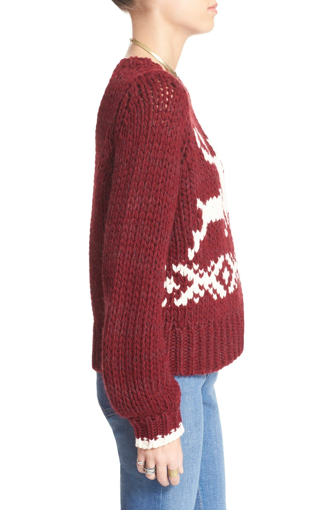 'Dancer and Prancer' Sweater,                             Alternate thumbnail 3, color,                             Beet Root