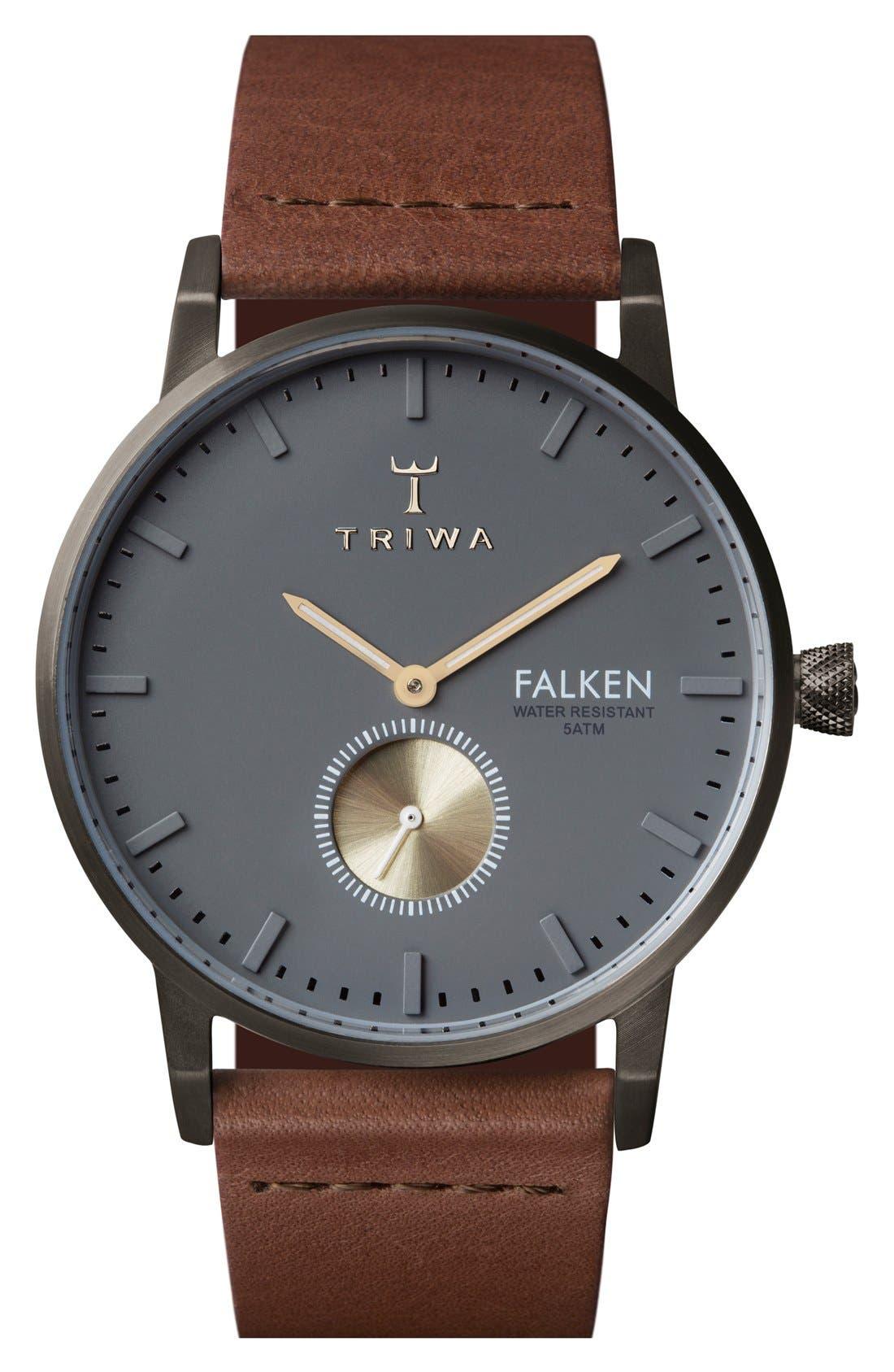 Walter Falken Organic Leather Strap Watch, 38mm,                         Main,                         color, Cognac/ Gunmetal/ Gunmetal