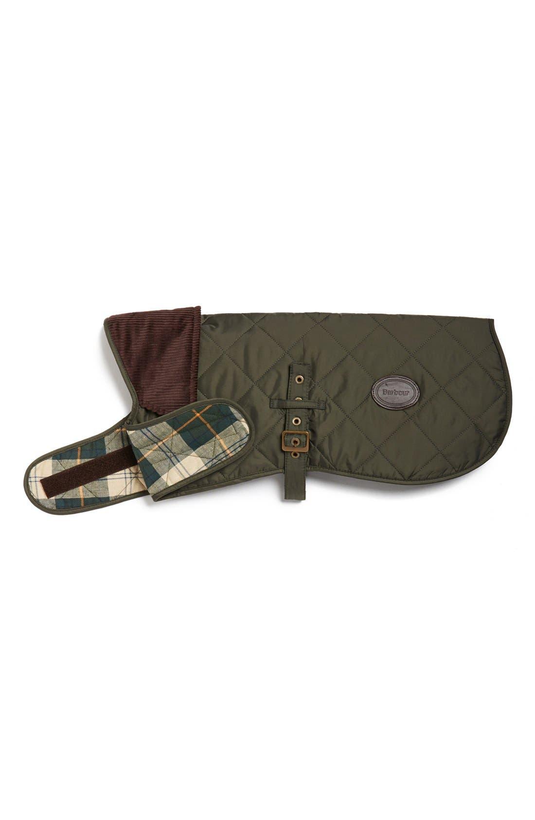 QuiltedTartan Dog Coat,                         Main,                         color, Olive