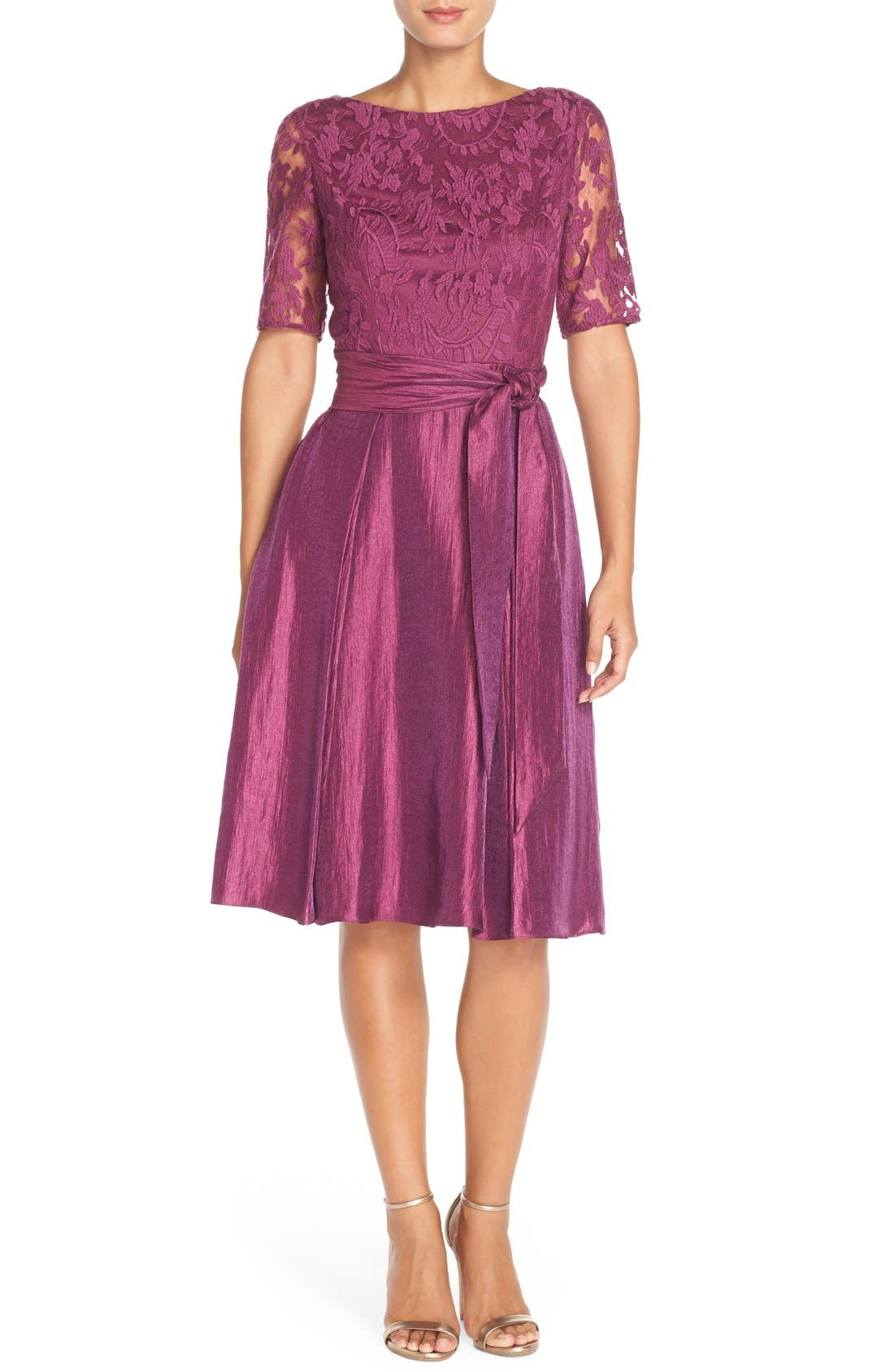 EmbroideredShimmer Fit & Flare Dress,                         Main,                         color, Plum