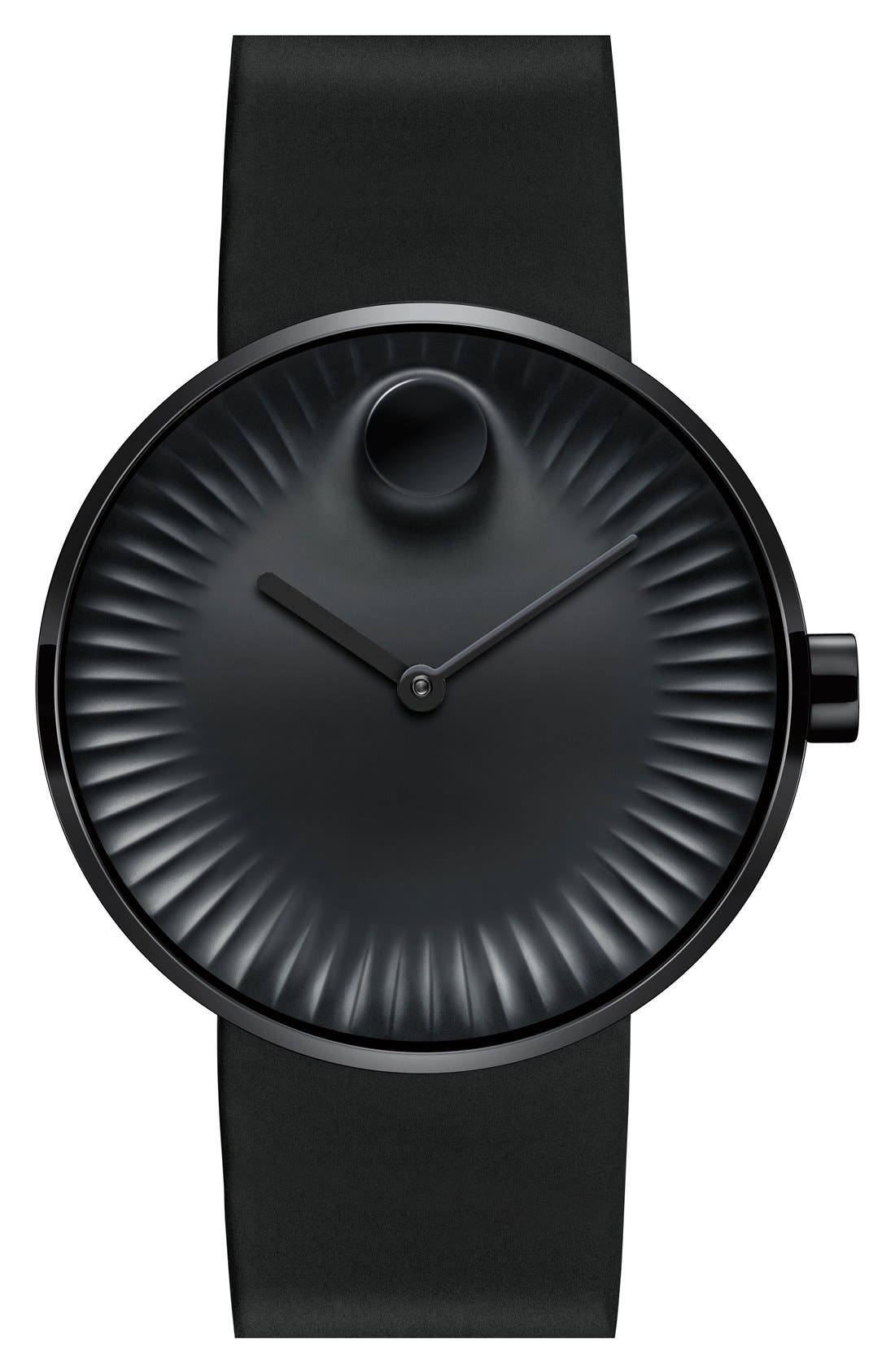 'Edge' Rubber Strap Watch, 40mm,                         Main,                         color, Black/ Black Hand
