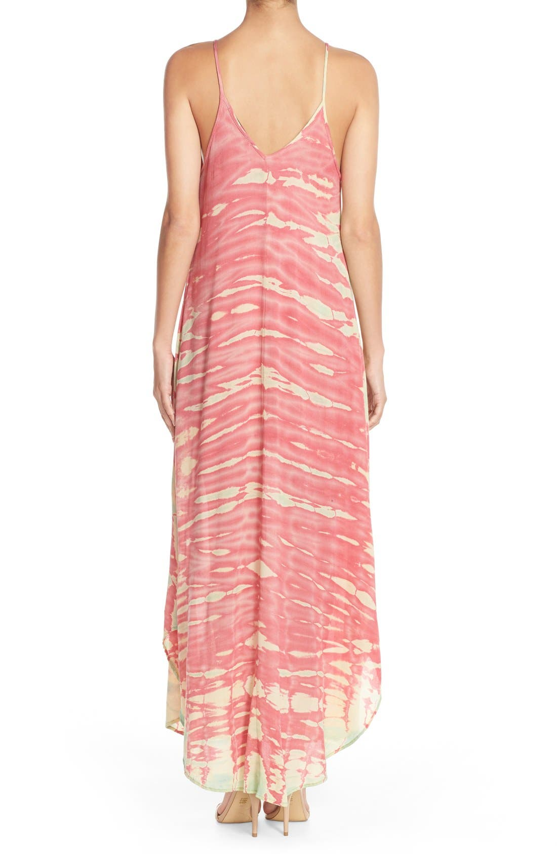 Tie Dye A-Line Maxi Dress,                             Alternate thumbnail 2, color,                             Pink/ Mint Special
