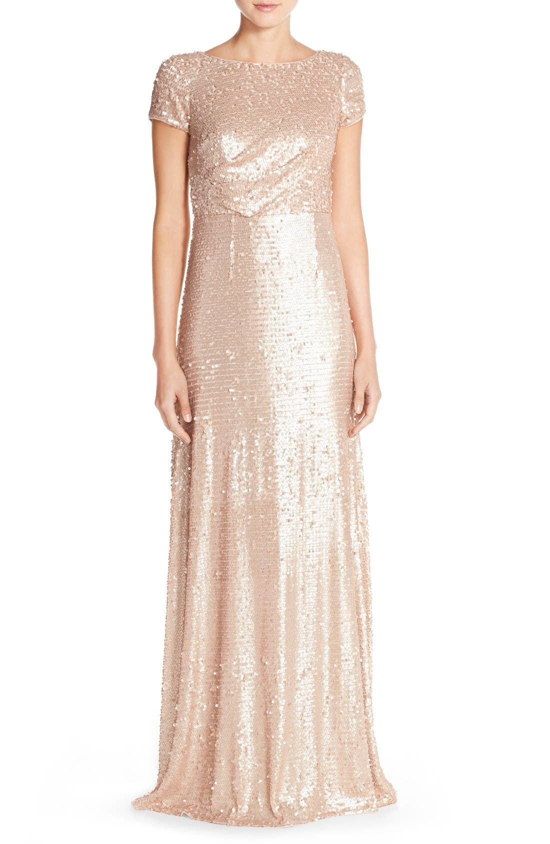 Sequin Mesh A-Line Gown,                         Main,                         color, Nude