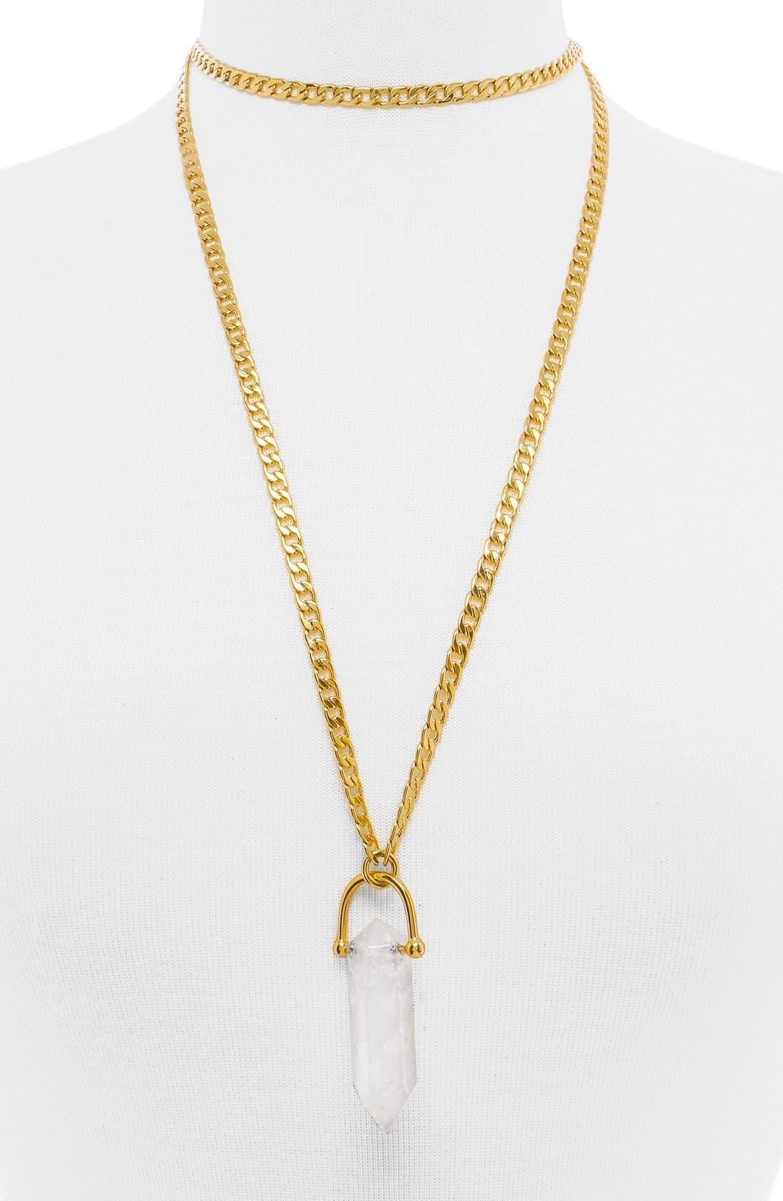 Alternate Image 1 Selected - BaubleBar x Olivia Palermo Quartz Pendant Necklace