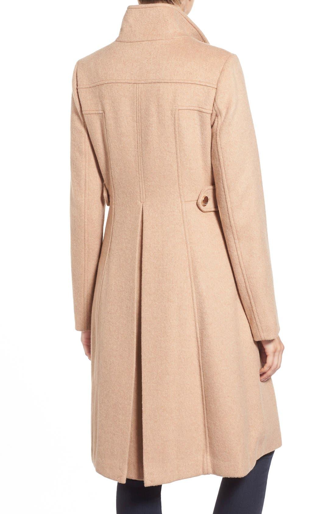 Wool Blend Long Military Coat,                             Alternate thumbnail 2, color,                             Camel