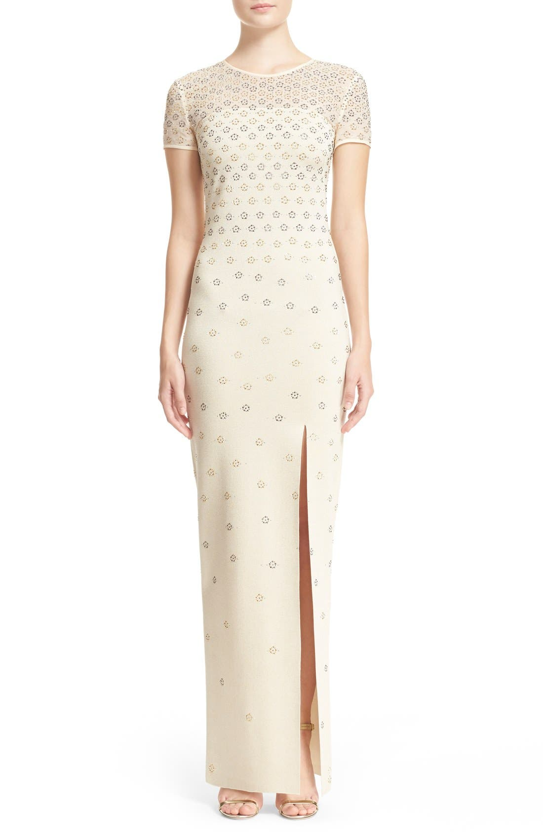 Main Image - St. John Collection Crystal Embellished Shimmer Milano Knit Gown