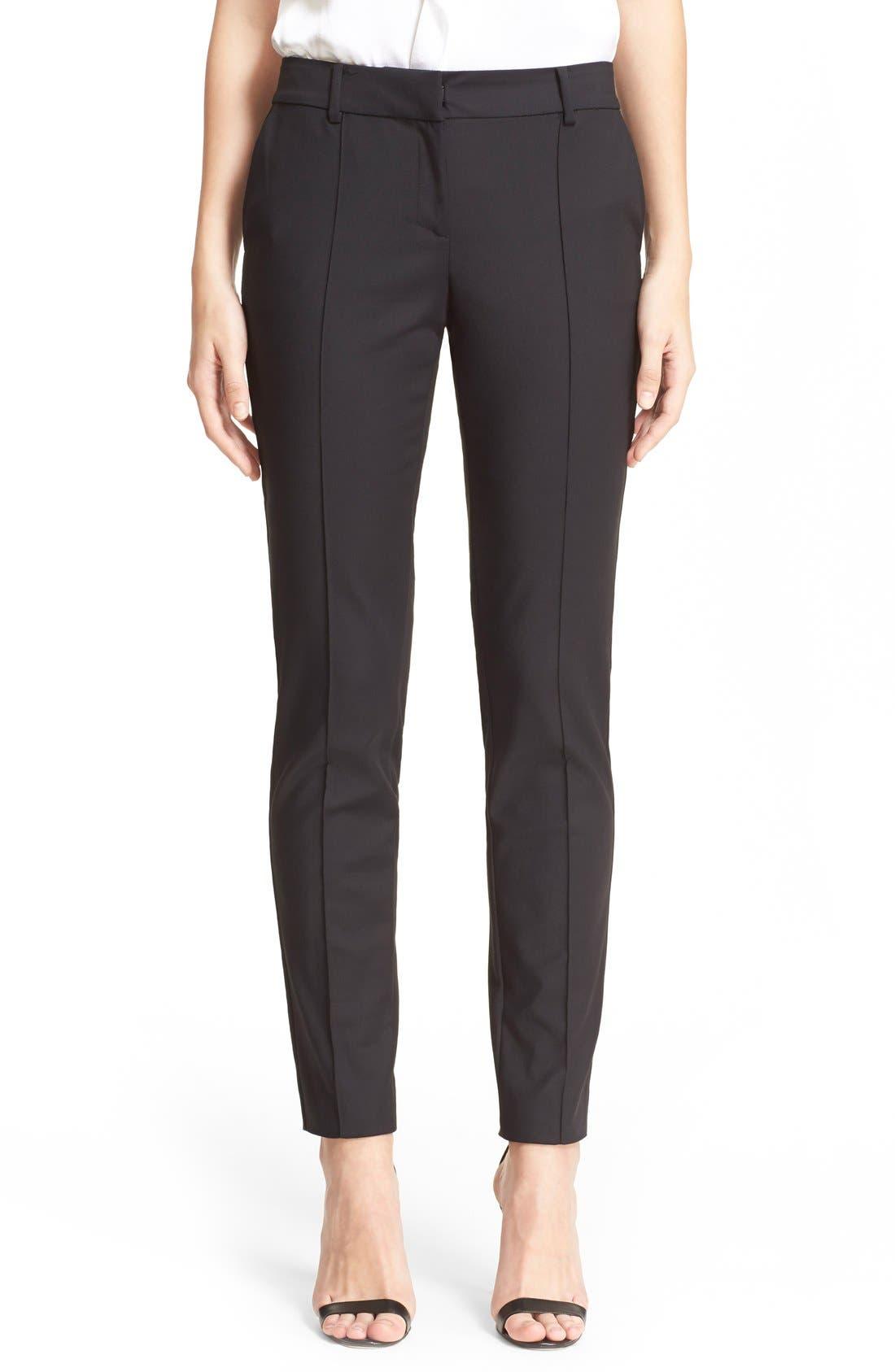 'Jennifer' Stretch Micro Ottoman Ankle Pants,                         Main,                         color, Caviar